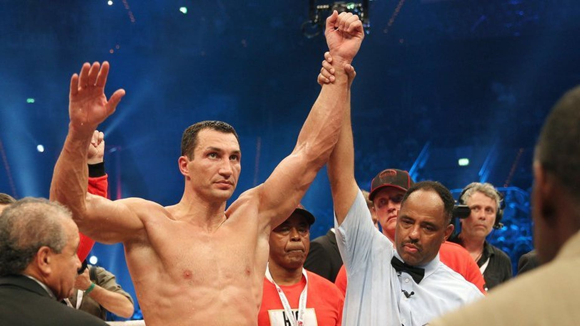 Ukrainian Heavyweight Champion Wladimir Klitschko in Mannheim, Germany on May 4, 2013. Klitschko has been forced to withdraw from his mandatory defence against Canada's Bermane Stiverne after injuring his right hand in training.