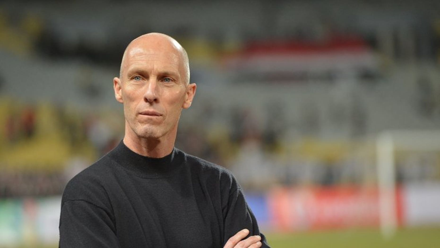 American Bob Bradley, head coach of Egypt's national team, looks on in Borg el-Arab on March 26, 2013. Egypt whipped Uganda 3-0 Wednesday in a World Cup warm-up 450 kilometres from a bloody security forces crackdown on supporters of ex-president Mohamed Morsi.