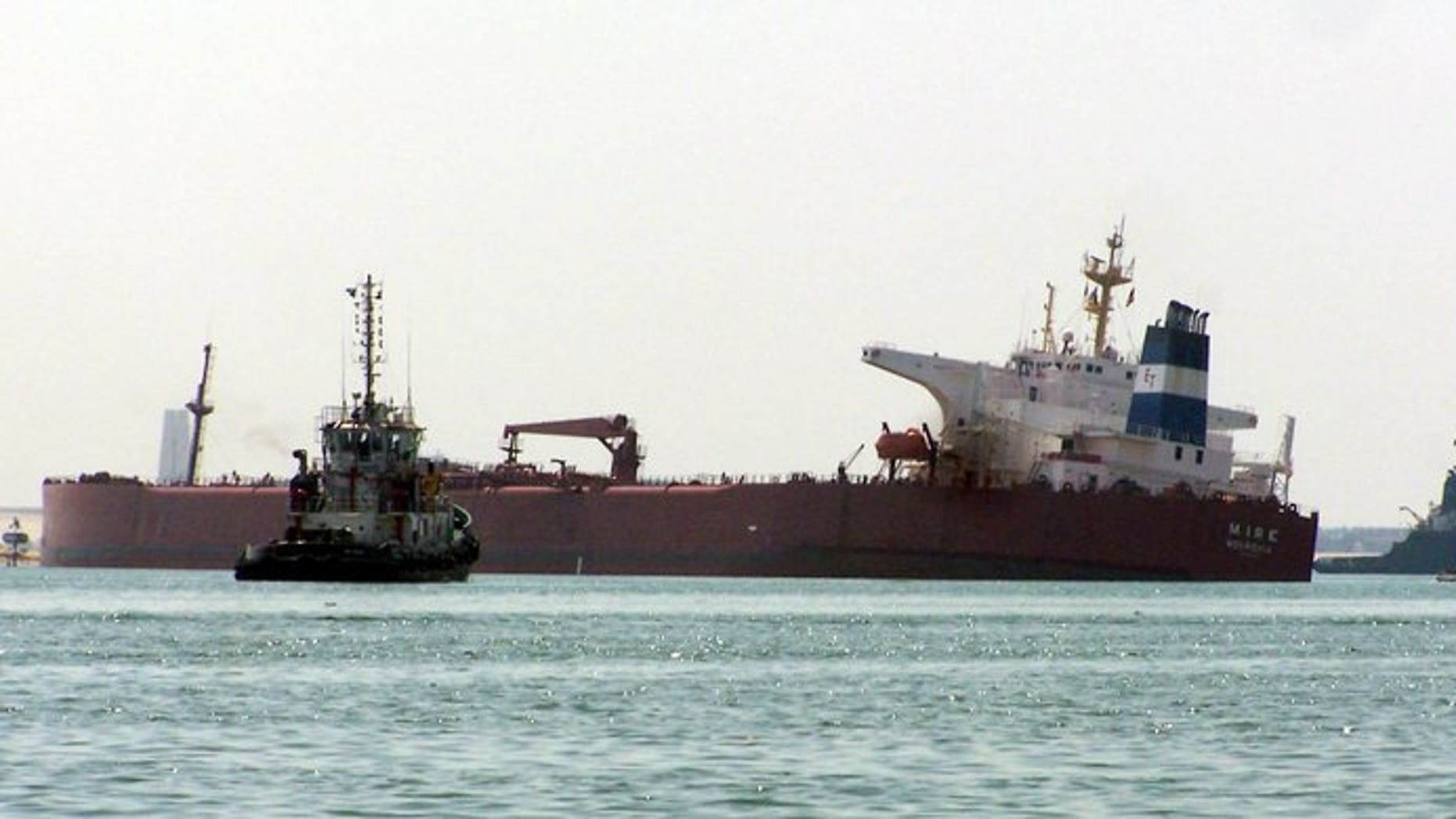 A tanker is seen stuck in the Suez canal on March 28, 2010 near Ismailia city, 120 kms north east of Cairo. Brent oil prices hit a four-month high on concerns escalating violence in Egypt will disrupt supplies from the Middle East, analysts said.