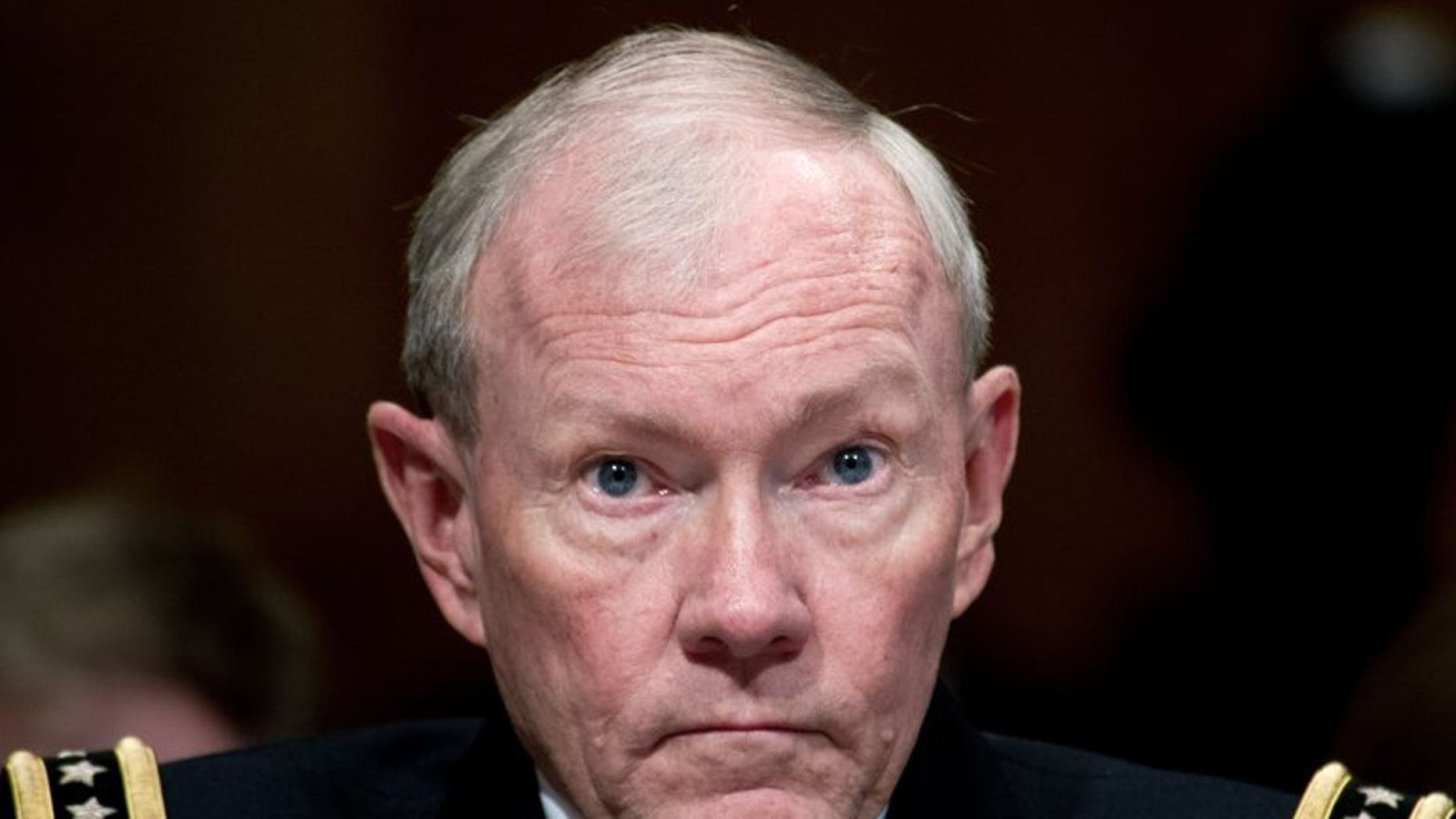 US army chief General Martin Dempsey testifies at a Senate Budget Committee hearing on Capitol Hill in Washington, on June 12, 2013. Dempsey has visited Amman to discuss ways to help the Jordanian military tackle fallout from the Syrian conflict.