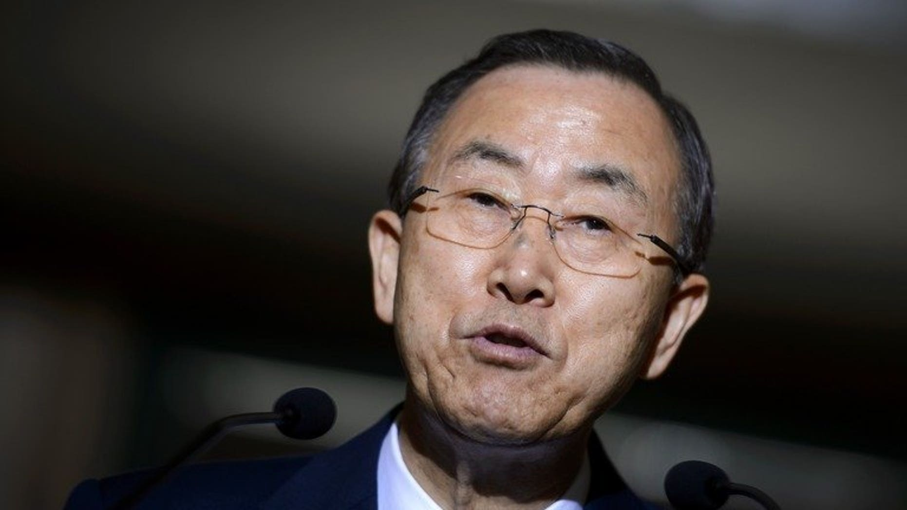 "United Nations Secretary-General Ban Ki-moon answers journalists' questions in Geneva, on July 1, 2013. Ban has urged Israelis and Palestinians to have ""patience"" with their peace talks so that they might have a chance to succeed."