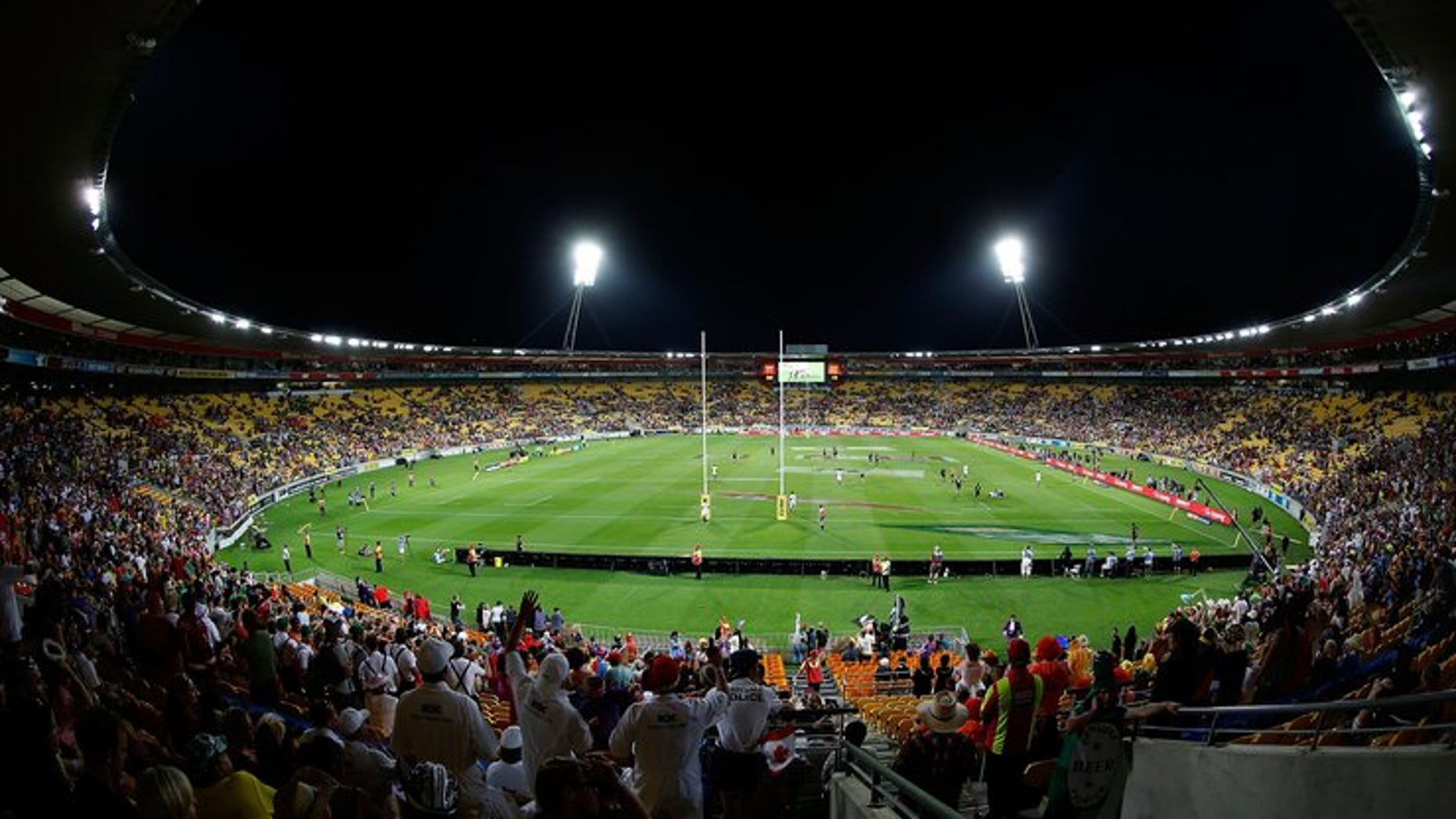 A general view shows the Westpac Stadium in Wellington on February 1, 2013. The All Blacks Test against Australia in earthquake-rattled Wellington next week was given a tentative go-ahead Saturday but officials said the final decision depended on a quake damage report.