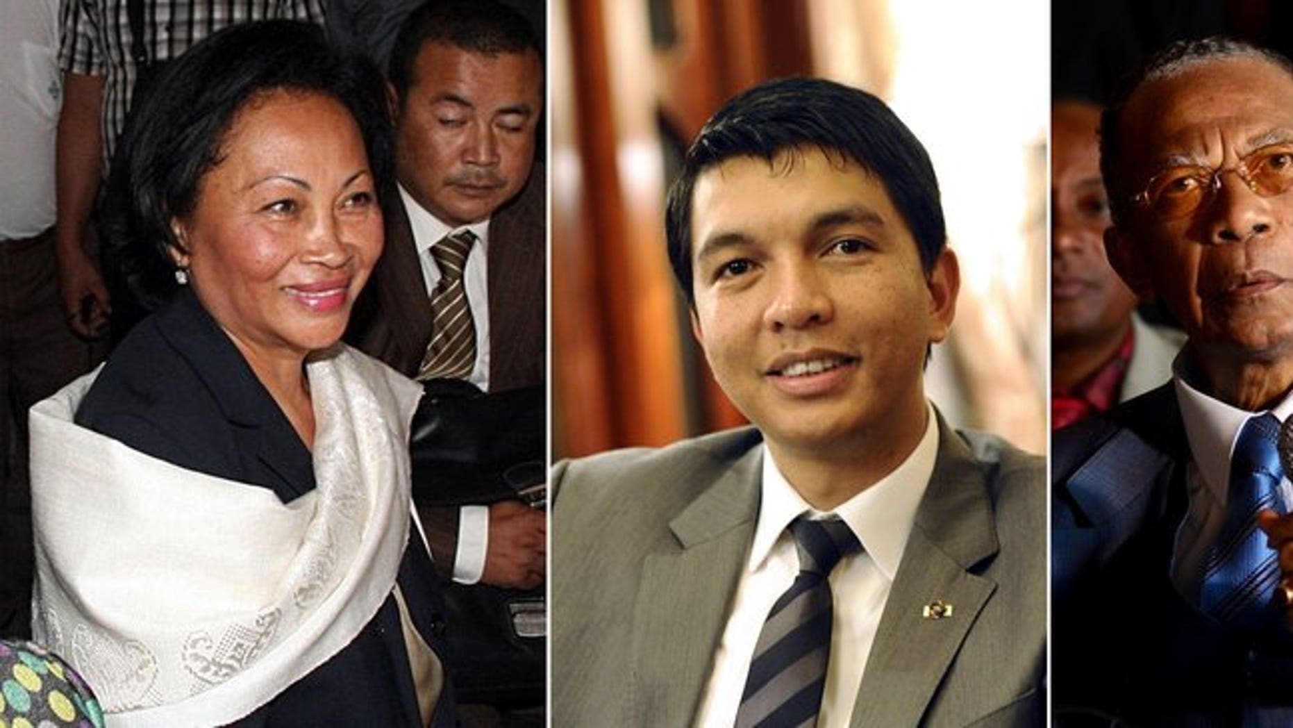 A combination of file pictures made on June 5, 2013 shows Madagascar's presidential candidates (L-R) Lalao Ravalomanana, Andry Rajoelina and Didier Ratsiraka. Madagascar's electoral court has removed the names of three presidential hopefuls whose candidacies had delayed key elections on the Indian Ocean island, a roll published on August 17, 2013 showed.
