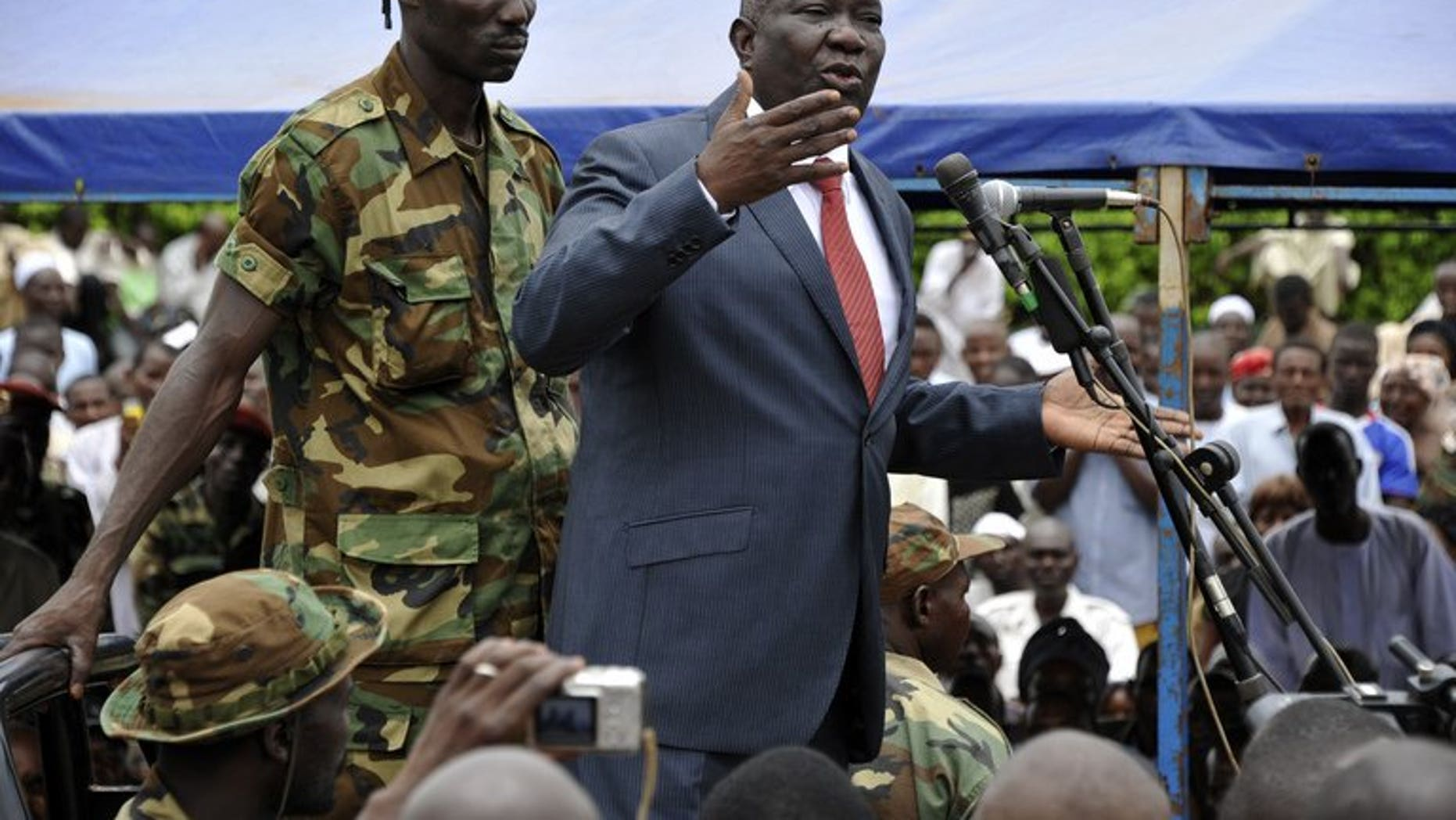 Michel Djotodia speaks on Republic Plaza in Bangui on March 30. Djotodia, who was sworn in Sunday as the Central African Republic's sixth president, is a reserved but determined leader, a Soviet-trained civil servant before joining the rebel camp.