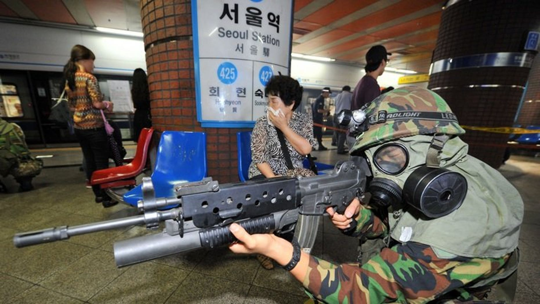 A South Korean soldier during joint military exercises with the US on August 21, 2012. Fresh exercises, known as Ulchi Freedom Guardian drill, involve more than 80,000 South Korean and US troops