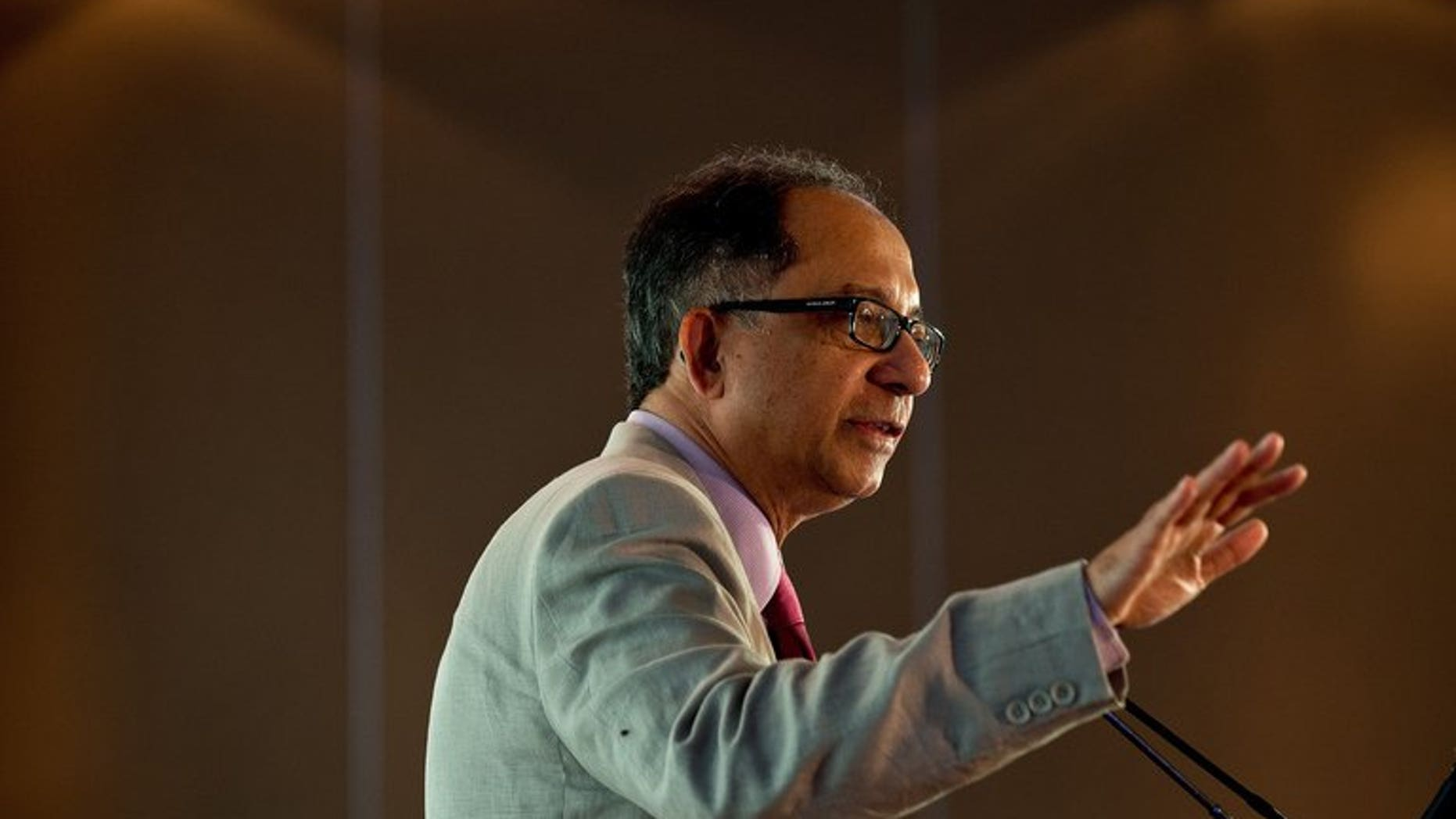 """World Bank Chief Economist Kaushik Basu gestures as he presents a lecture in New Delhi on Monday. He said the gloom surrounding India's economy had been """"overplayed"""" and the country was not in danger of a full-blown crisis."""