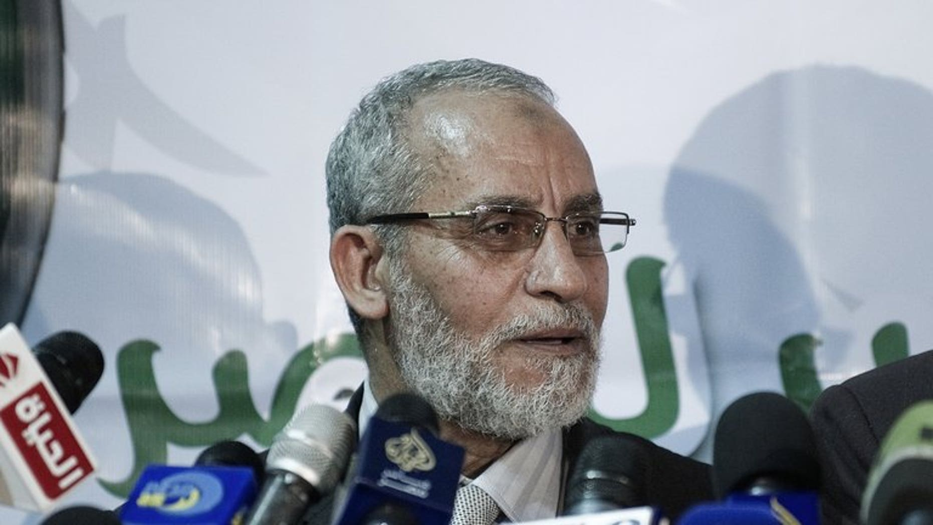 Mohamed Badie, Egypt's Muslim brotherhood leader, gives a press conference in Cairo, on March 31, 2012. Badie has been arrested in Cairo, Egyptian officials confirmed on Tuesday. The arrest came as authorities pursued a crackdown on the Brotherhood, the party of ousted president Mohamed Morsi, which has sparked deadly protests and international condemnation.