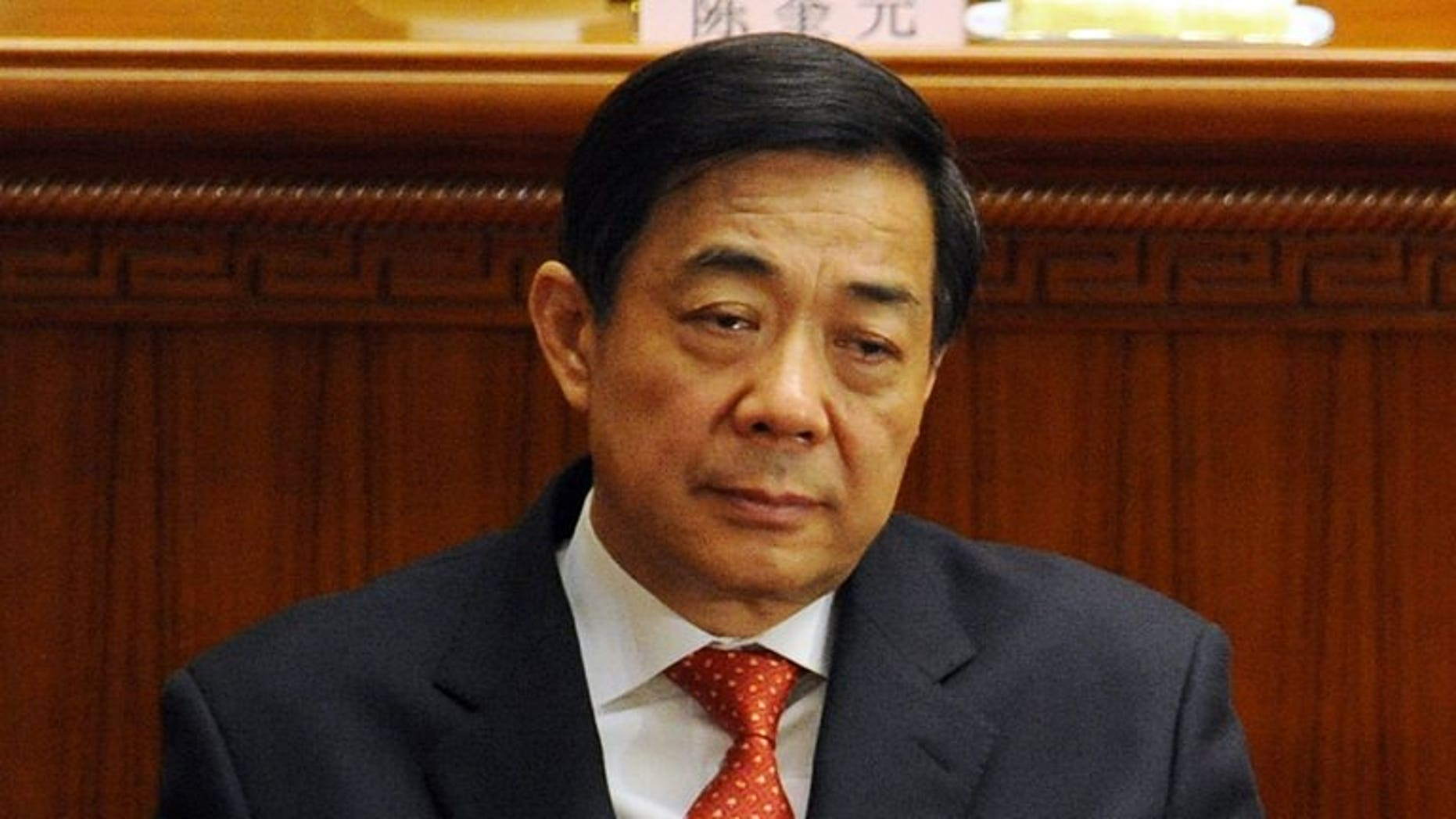 Former Chongqing Party Secretary Bo Xilai during the closing ceremony of the National People's Congress on March 14, 2012. His son Bo Guagua has broken his months-long silence ahead of his father's trial.