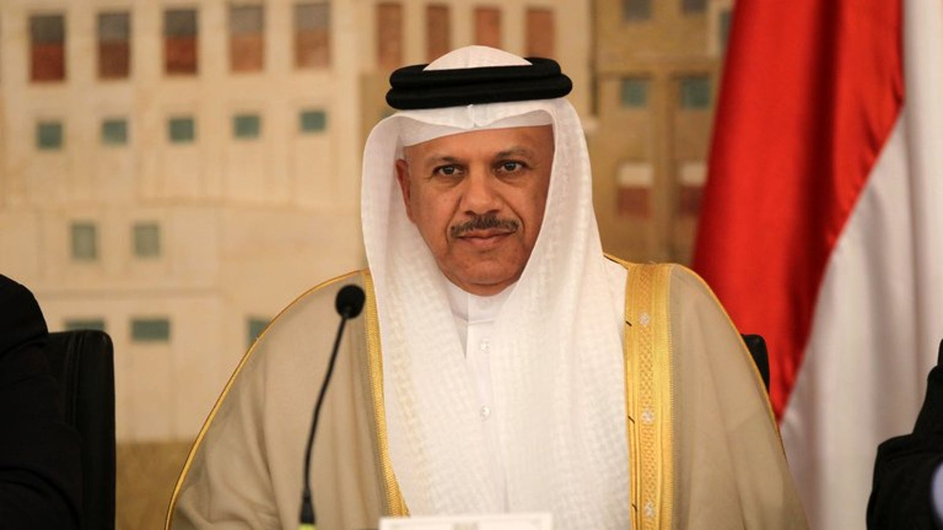 Secretary General of the Gulf Cooperation Council (GCC), Abdullatif al-Zayani, pictured during a meeting in the Yemeni capital Sanaa, on January 27, 2013. GCC has criticised Lebanon's Hezbollah chief Hassan Nasrallah for threatening to send more fighters to neighbouring Syria after a car bomb hit his Shiite party's stronghold.