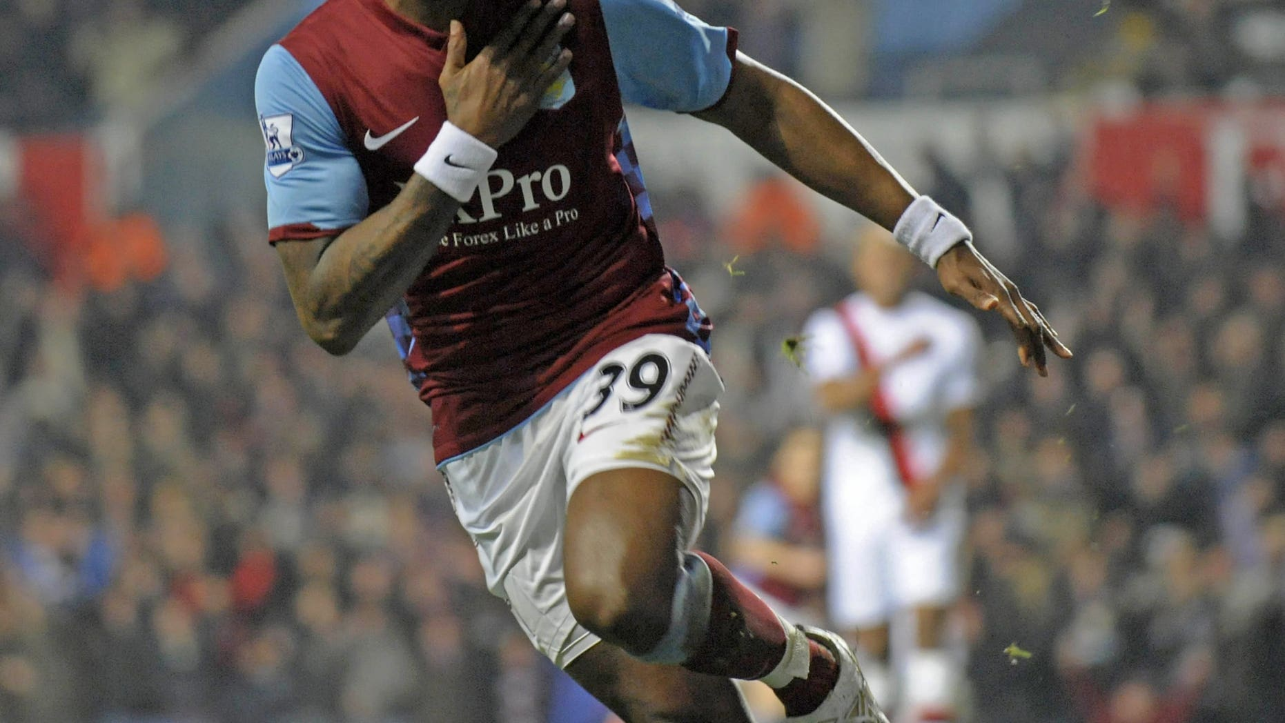 Aston Villa striker Darren Bent celebrates scoring a goal against Manchester City in Birmingham on January 22, 2011. Bent has hit out at Aston Villa manager Paul Lambert, in an interview published, over his treatment during his time at Villa Park.