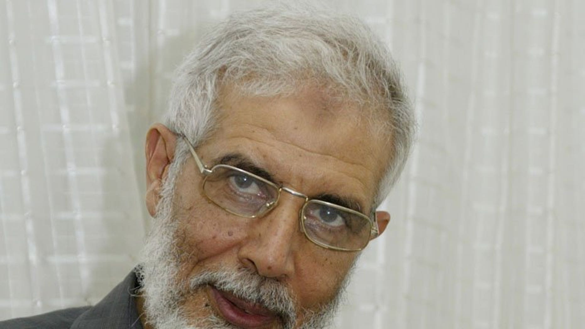 A picture dated August 29, 2005 shows senior member of Egypt's Muslim Brotherhood Mahmoud Ezzat giving an interview to AFP in Cairo. The Muslim Brotherhood has named Ezzat as interim leader to head the group after its supreme guide was arrested Tuesday, the website of its political party said.