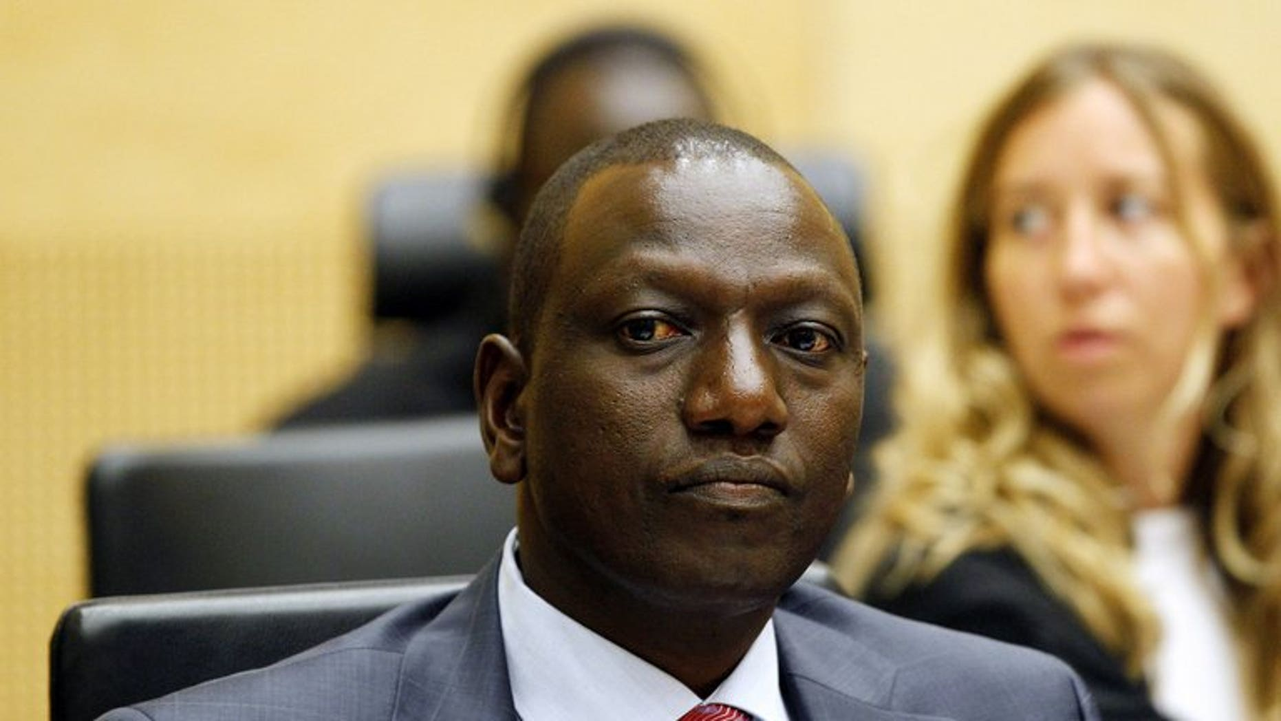 Former Kenyan Education Minister William Ruto sits in the courtroom of the International Criminal Court in The Hague on September 1, 2011. The ICC has suspended a decision allowing Ruto to be absent from parts of his trial next month for crimes against humanity.