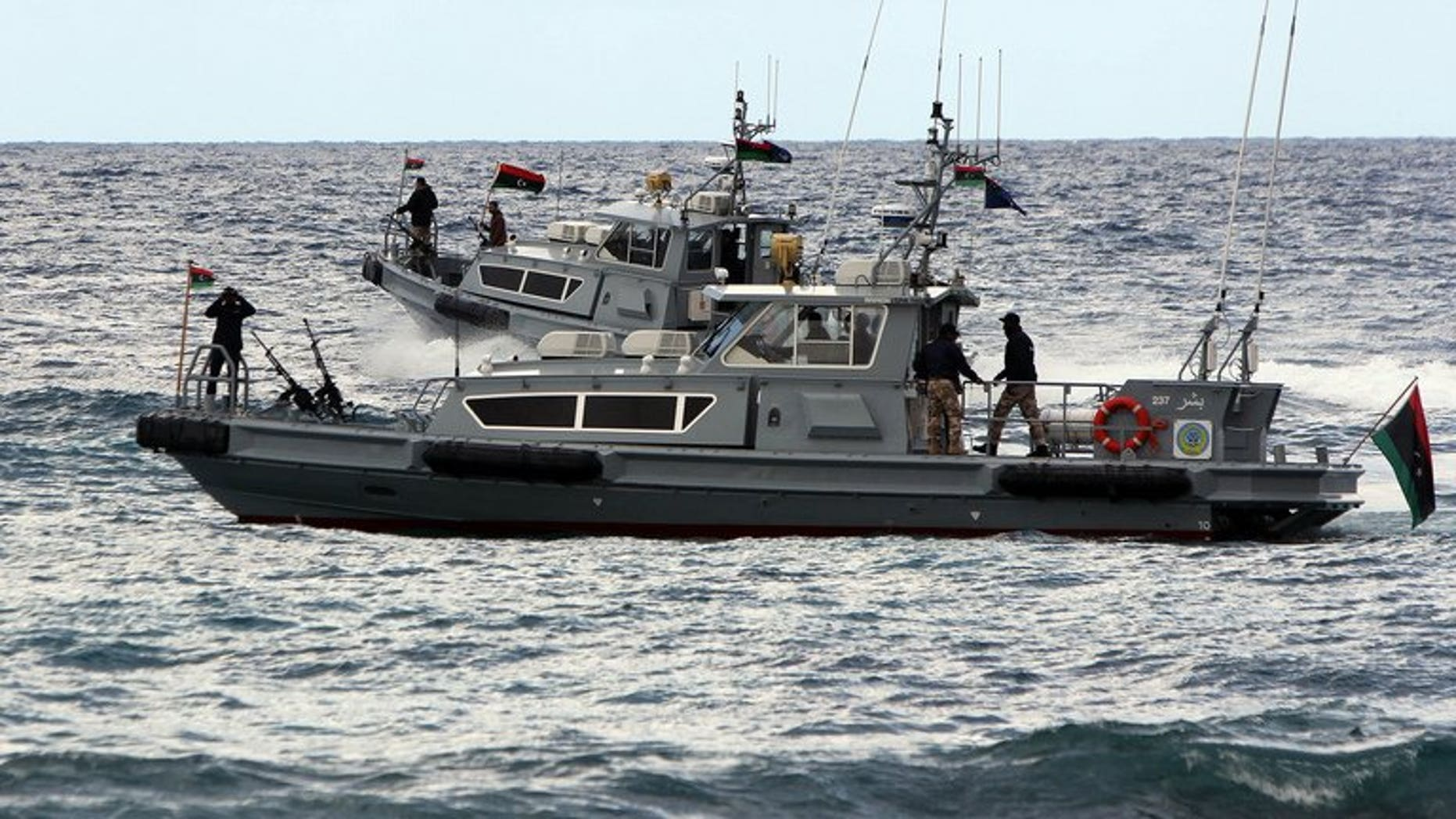 """Libyan navy personnel patrol off the coast of the eastern city of Benghazi on February 17, 2013. Libya's navy has prevented a tanker from """"illegally entering"""" Al-Sedra oil terminal in the east of the country, the army's general staff said Tuesday, as protests paralysed several ports."""