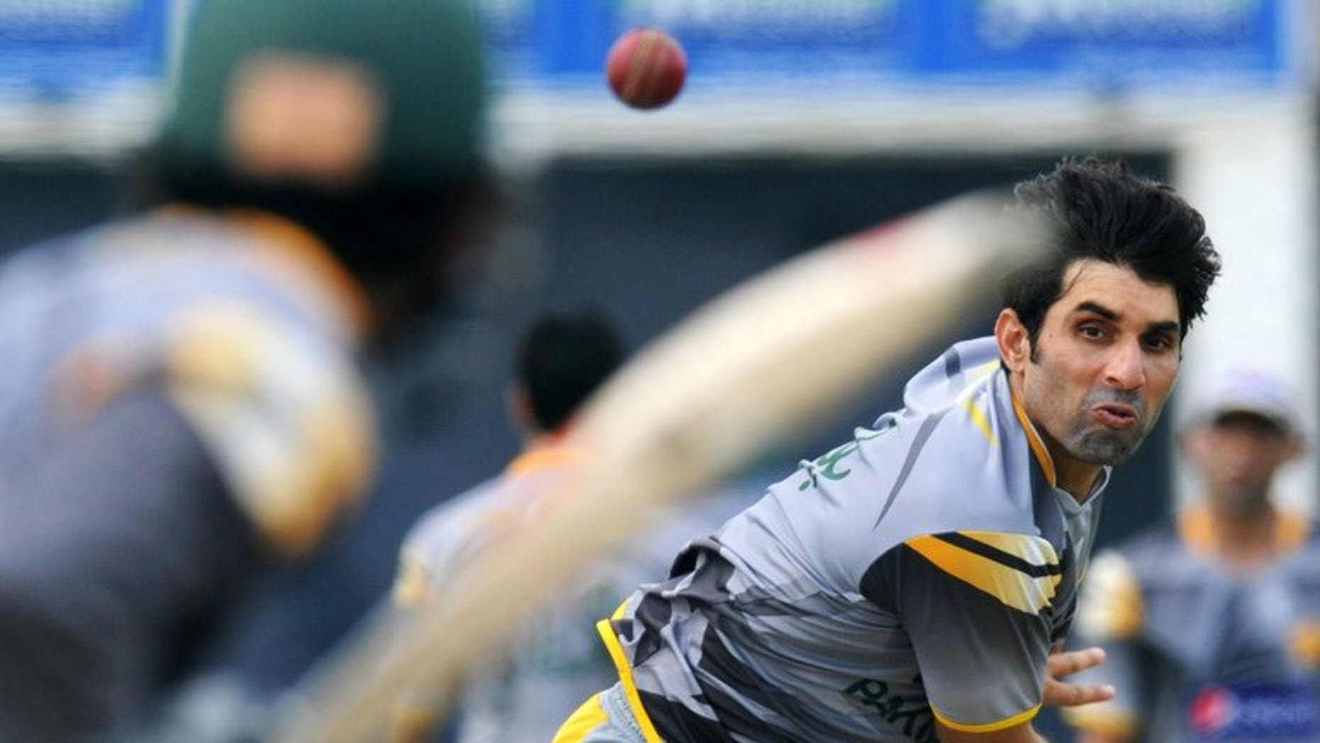 Pakistan cricketer Misbah ul-Haq delivers a ball during a practice session at the Galle International Stadium in Galle on June 21, 2012. Misbah urged his country's cricket chiefs Wednesday to revive plans for an IPL-style Twenty20 league to get his players sharp for international competition.