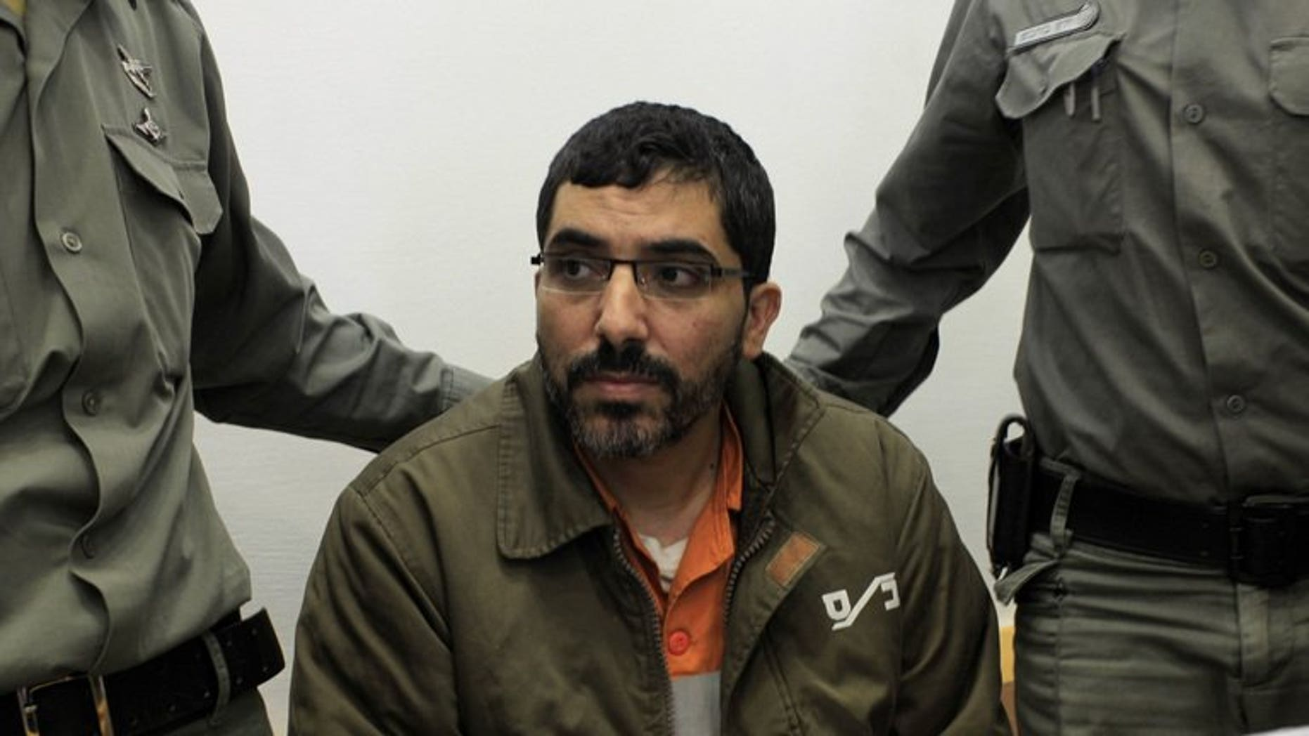 Palestinian engineer Dirar Abu Sisi attends a court session in Beersheva on April 4, 2011. The Palestinian from Gaza, who was snatched from Ukraine and is being held in an Israel prison, has begun refusing food, a prison spokeswoman said on Thursday.