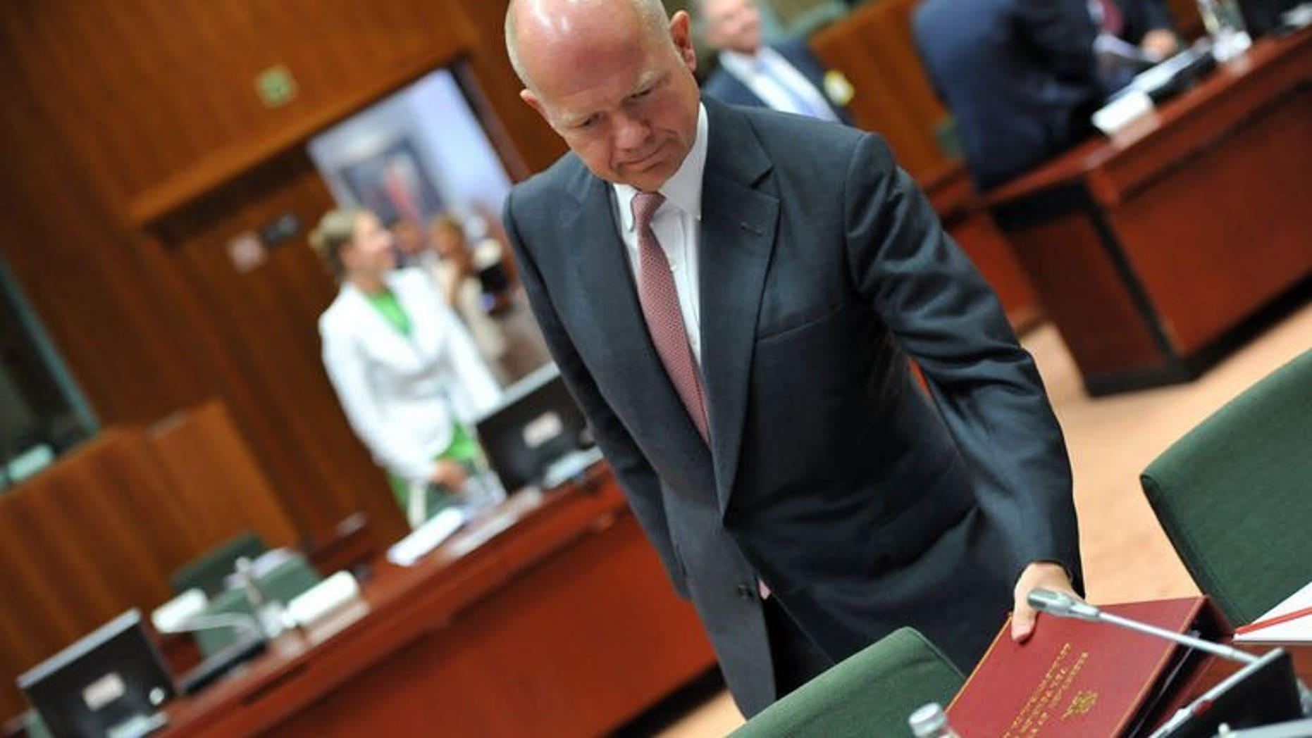 Britains's Foreign Secretary William Hague arrives on August 21, 2013 at the European Headquarters. The British government believes the Syrian regime of President Bashar al-Assad is responsible for an alleged chemical weapons attack this week, Hague said Friday.