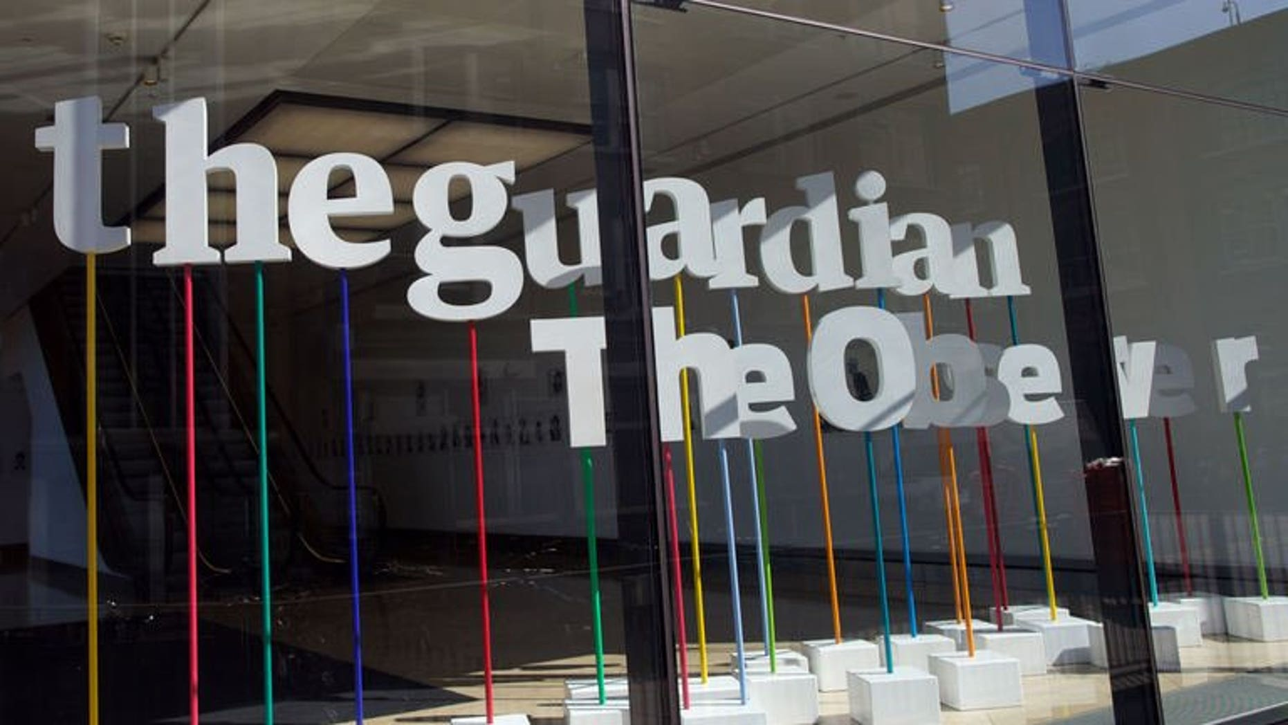 """A picture shows the offices of the Guardian newspaper in central London on August 20, 2013. Britain's Guardian newspaper said Friday it is teaming up with the New York Times to work on documents obtained by fugitive US security employee Edward Snowden because of """"intense pressure"""" from the British government."""