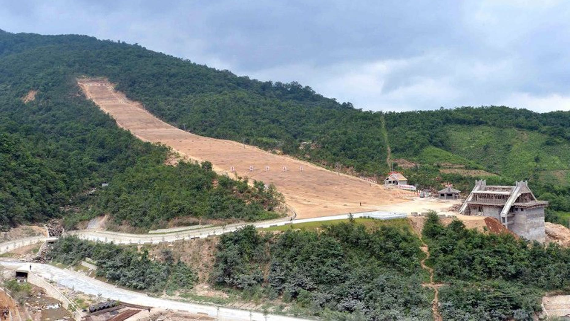 The construction site of the Ski Resort on Masik Pass, North Korea, August 18, 2013. North Korea expressed anger Saturday after Switzerland blocked a deal to supply key equipment for a ski resort which has been under construction as one of leader Kim Jong-Un's pet projects.