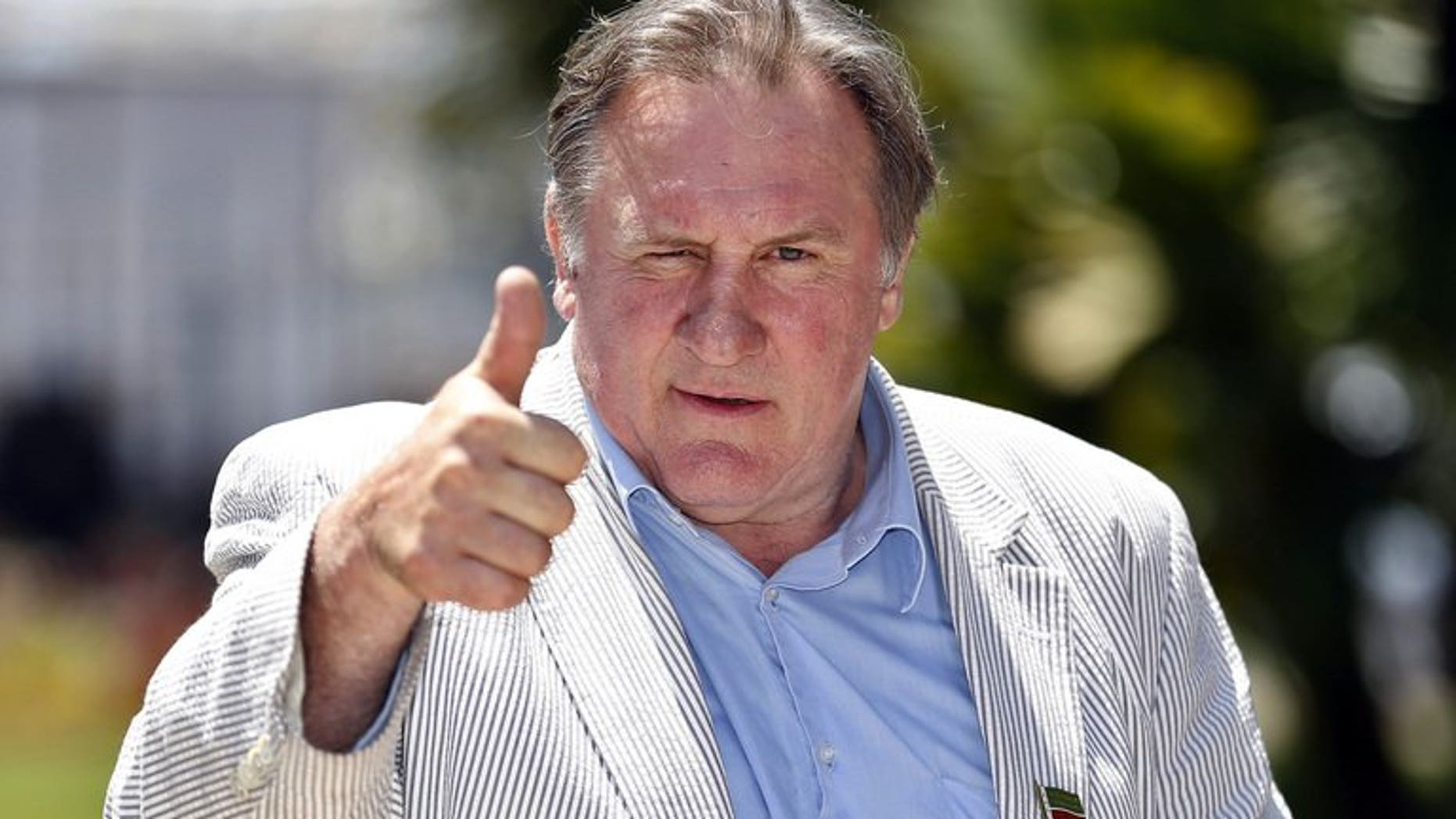 French-Russian actor Gerard Depardieu on June 6, 2013 in Nice. Authorities in the Belgian municipality of Estaimpuis made their most famous resident, Depardieu, an honorary citizen on Saturday ahead of a housewarming barbecue the French actor is due to host.