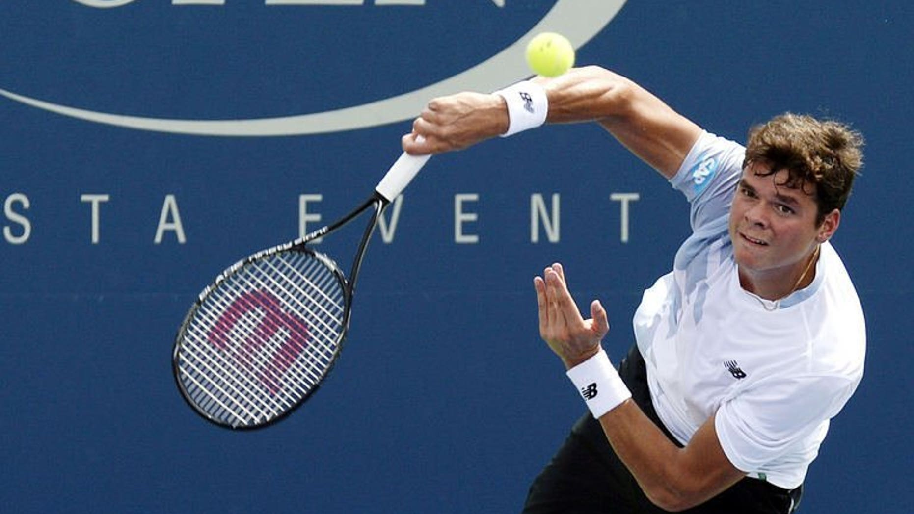 Milos Raonic of Canada, seen in action during the US Open, in New York, on August 31, 2013. World number one Novak Djokovic of Serbia and Raonic will lead their teams, whose rosters were revealed on Tuesday, into a Davis Cup semi-final showdown next week.
