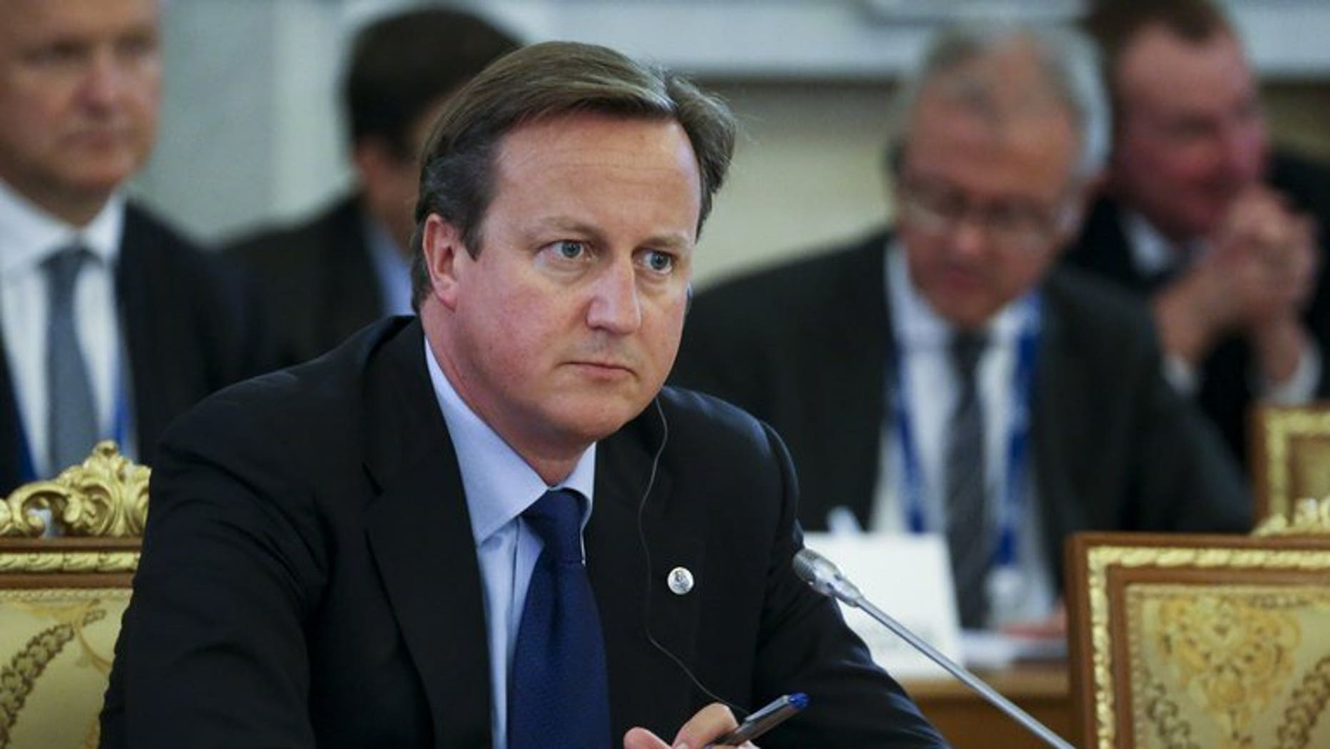 Britain's Prime Minister David Cameron attends the first working session at the G20 summit on September 5, 2013 in Saint Petersburg. Cameron said on Thursday that Britain had further evidence of the use of chemical weapons in Syria, which a British source said confirmed the use of sarin.