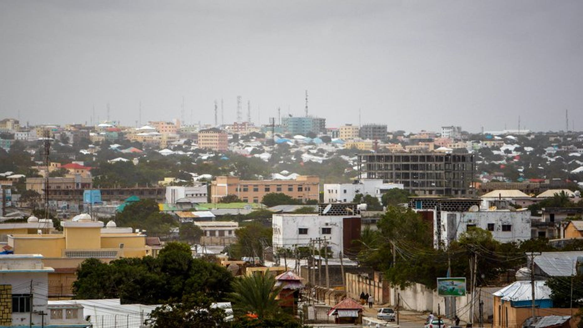 A general view of the skyline of Somali capital Mogadishu on August 5, 2013. At least nine people were killed in Mogadishu when two blasts ripped through a busy parking lot, police said.