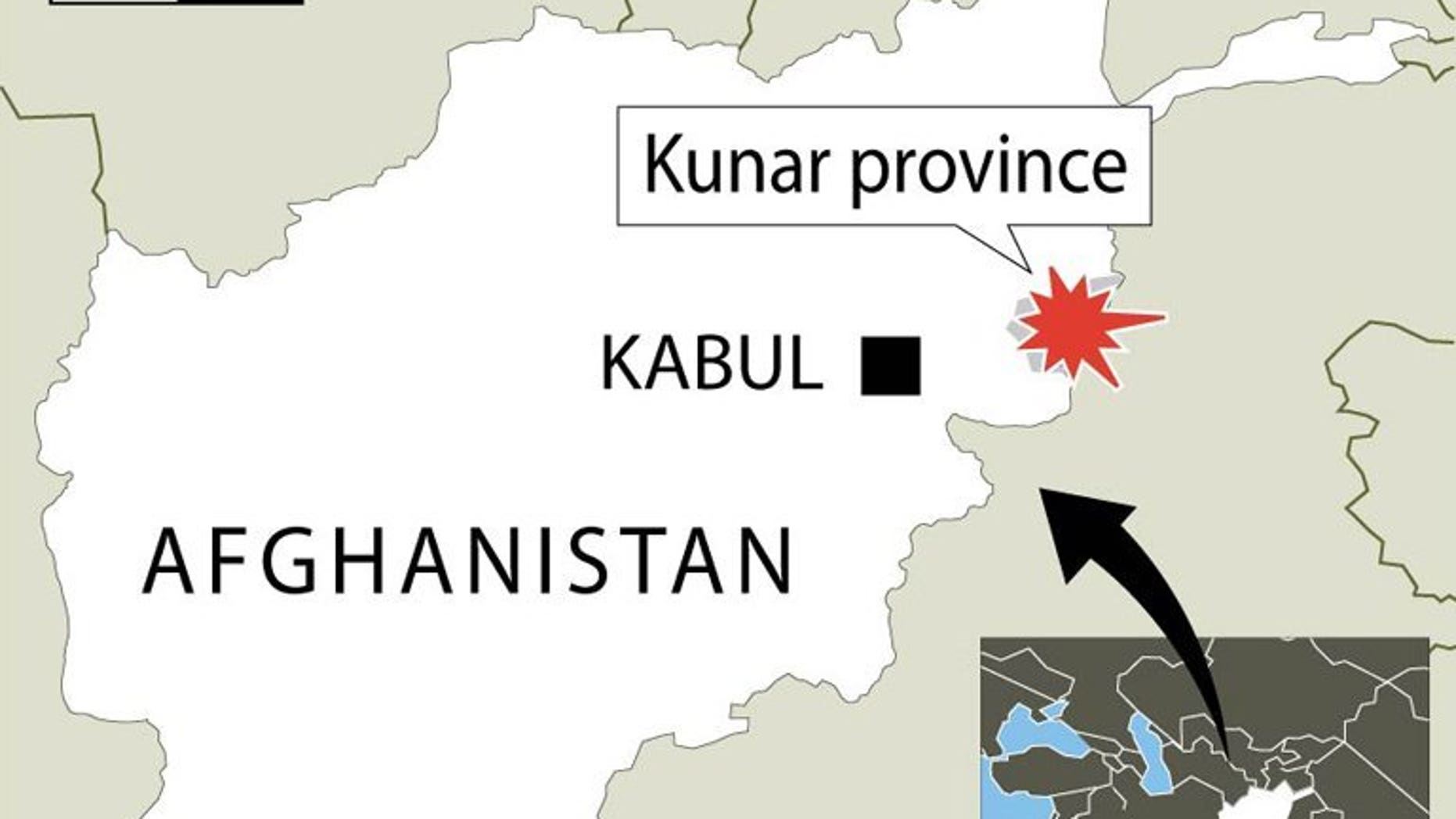 Map showing Kunar province where at least ten civilians have been killed in a NATO airstrike on a pickup truck carrying women and children, according to Afghan provincial officials.