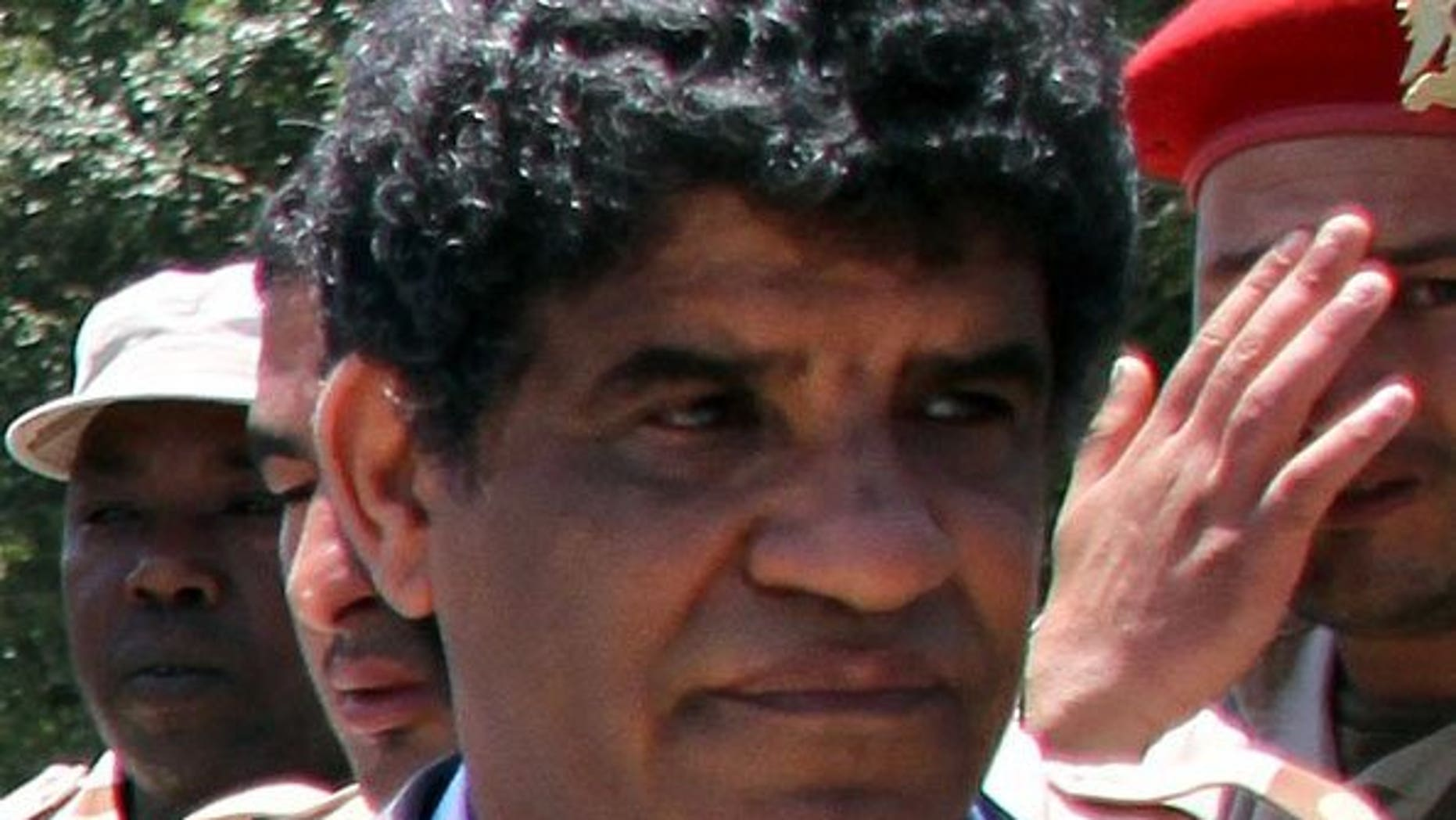 The then head of Libyan intelligence, Abdullah al-Senussi, is pictured in Tripoli on June 22, 2011. Senussi's daughter, who was reportedly kidnapped last week, has been freed, a member of her tribe said.