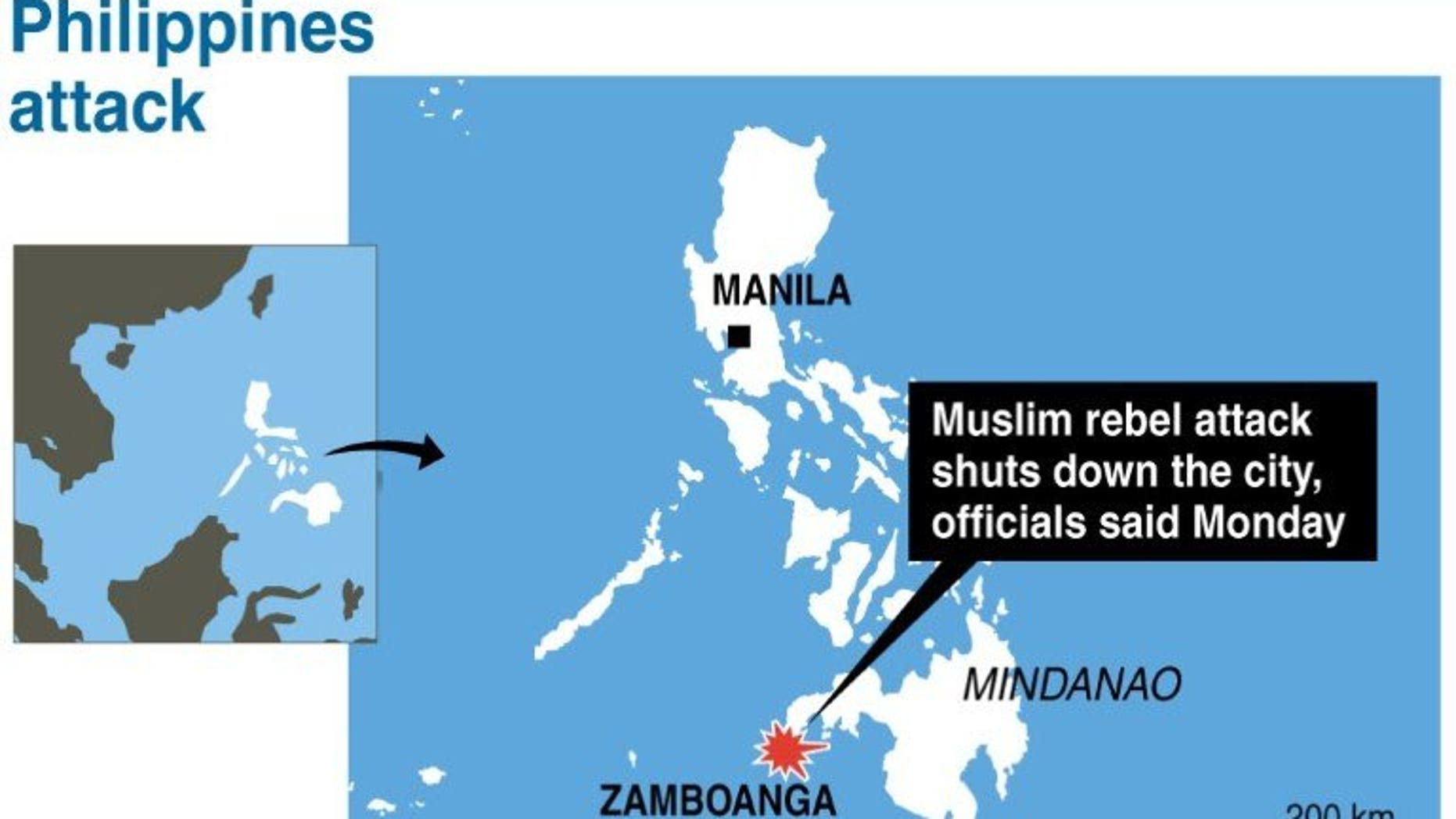 Map locating Zamboanga in the Philippines were an attack by Muslim rebels has closed down the city, according to officials Monday.