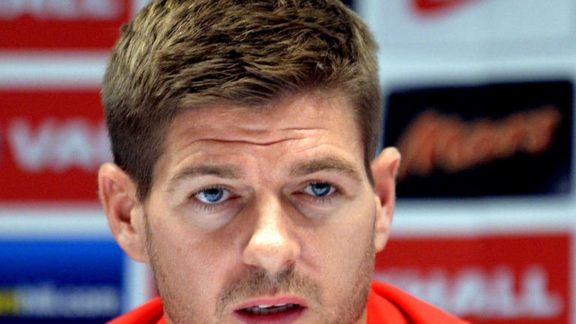 England's national football team captain Steven Gerrard takes part in a press conference in Kiev on September 9, 2013 on the eve of their World cup qualifier against Ukraine.