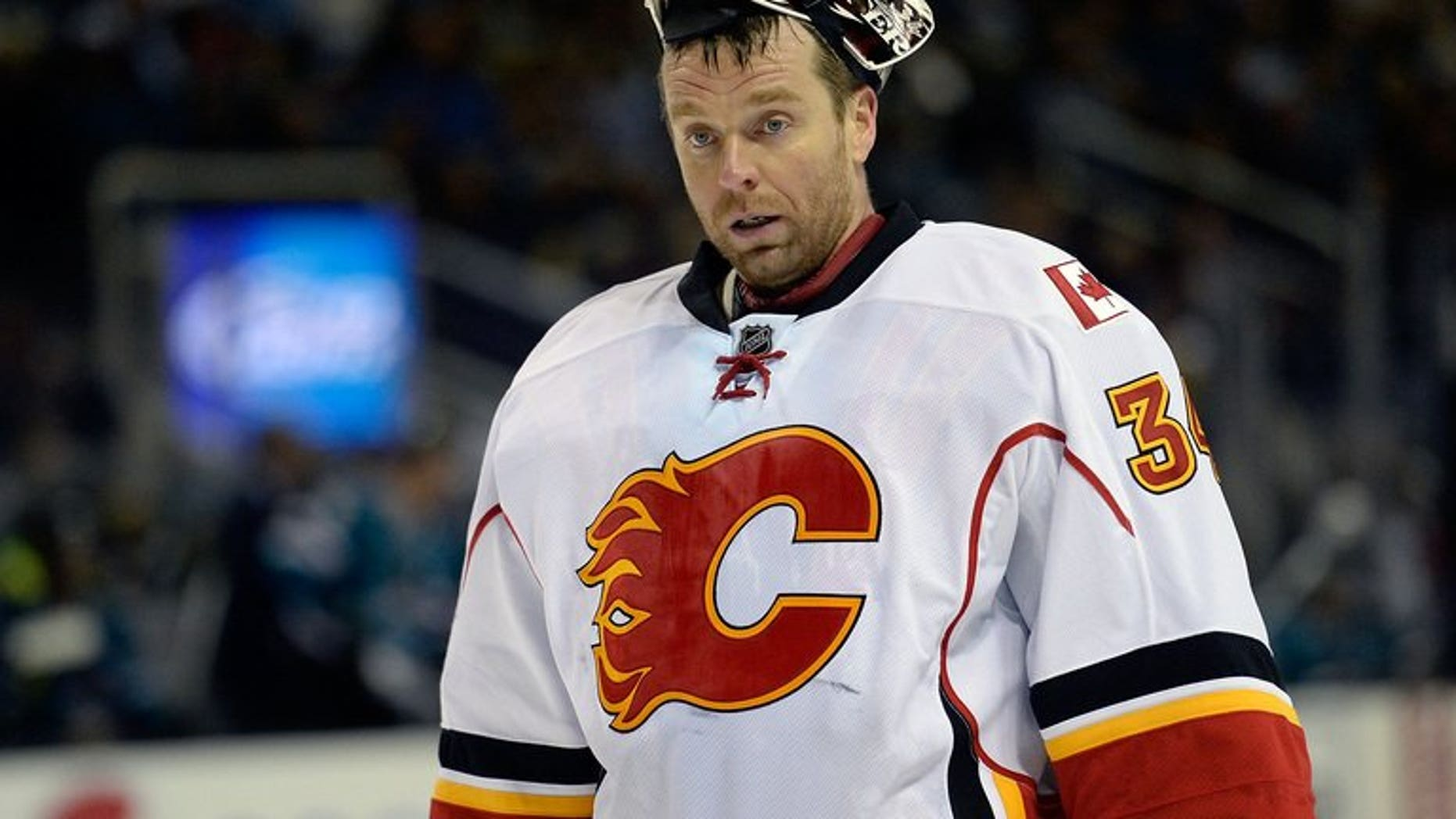 Goalkeeper Miikka Kiprusoff of the Calgary Flames is seen on April 5, 2013 in San Jose, California. Kiprusoff, who won the Vezina Trophy in 2006 as the league's top goaltender, announced Monday he is retiring after a stellar 12-year NHL career.