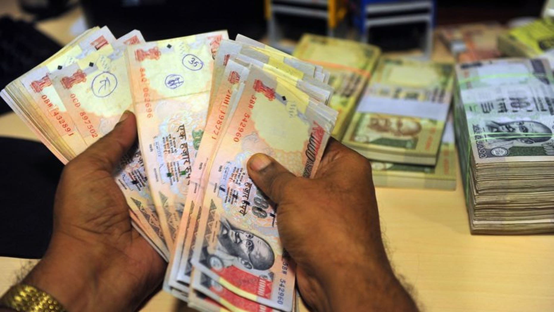 India's rupee rose to a three-week high against the dollar Wednesday, after a string of record lows in recent months, as positive trade data boosted investor confidence and concerns over strikes on Syria eased.