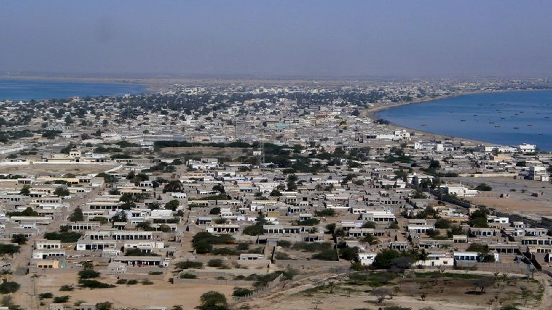 The residential area of Gwadar port in the Arabian Sea, pictured on Febraury 12, 2013.