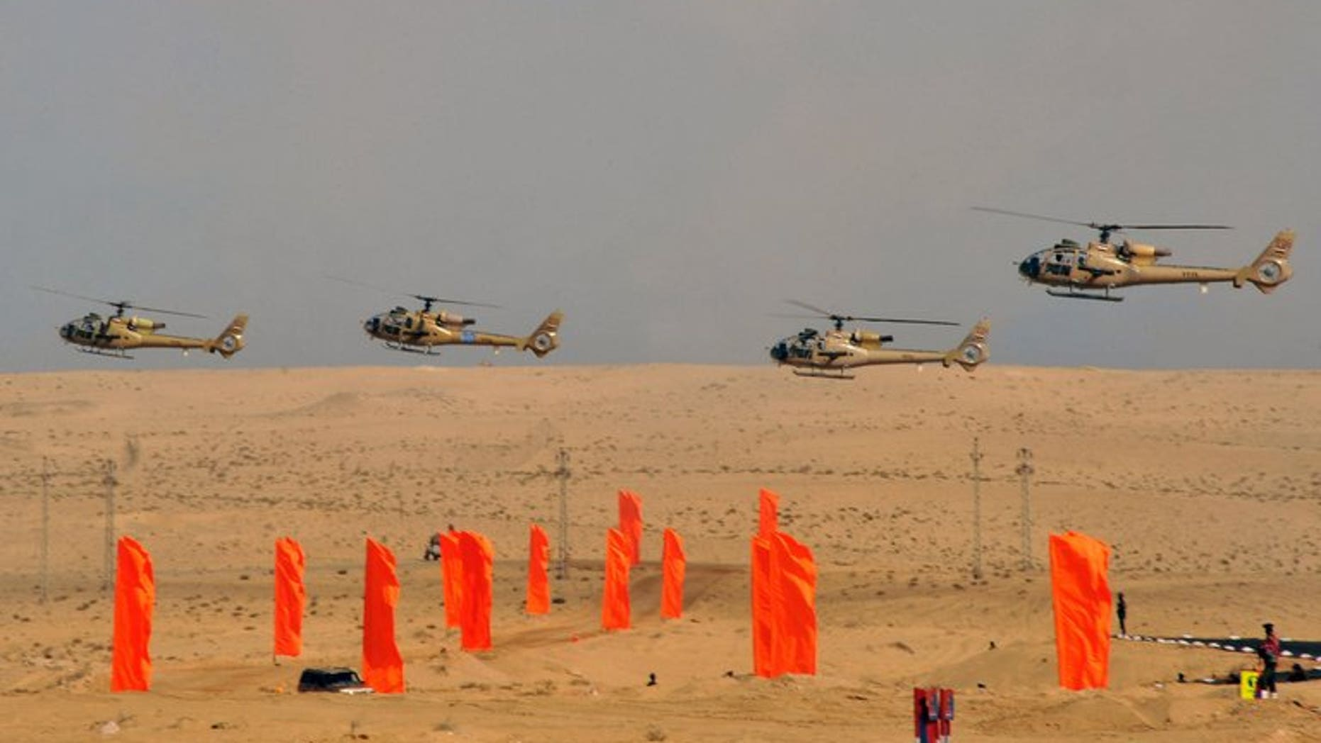 Egyptian military helicopters display military maneuvers in eastern Sinai on October 18, 2012, in a photo released by the Egyptian president's office. Egyptian military helicopters on Friday carried out air strikes on Islamist militant positions in Sinai, two days after suicide bombers killed six soldiers in the restive peninsula, security sources said.
