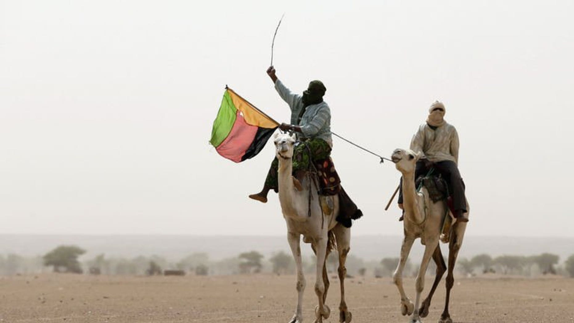A Tuareg man holds the flag of the National Movement for the Liberation of Azawad (MLNA) in Kidal, northern Mali on July 28, 2013.