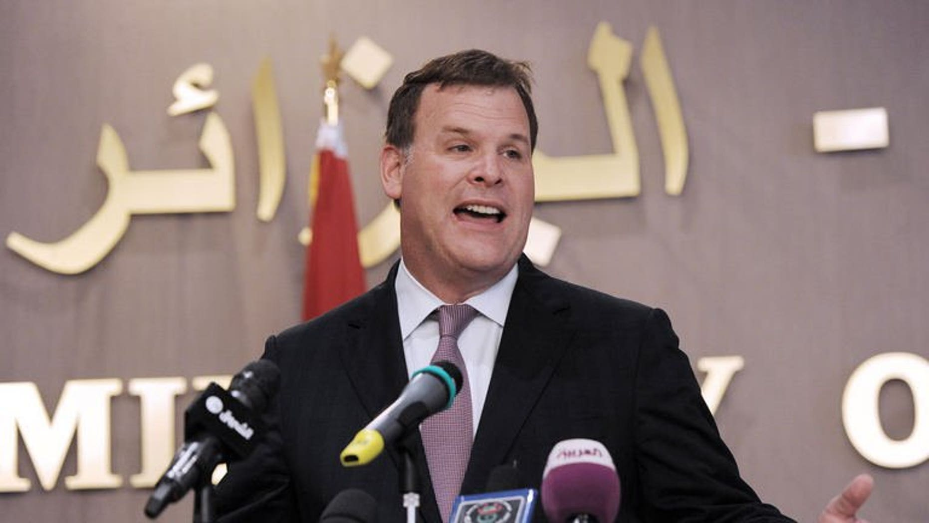 Canadian Foreign Affairs Minister John Baird attends a press conference in Algiers, on September 15, 2013.