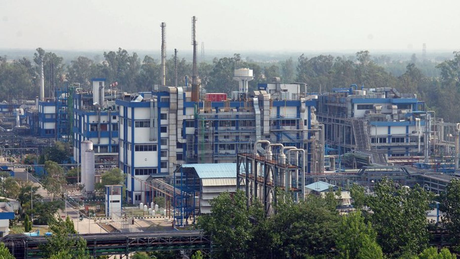 A factory of Indian generic drugs giant Ranbaxy Laboratories is shown at Toansa village on May 14, 2013. Shares in the firm crashed as much as 35% in early trade on Monday.