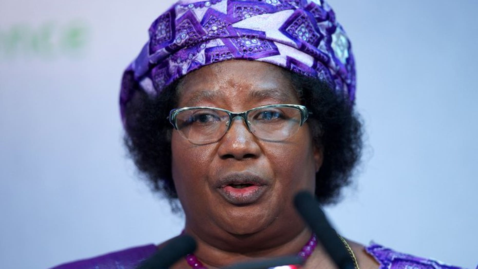 President of Malawi Joyce Banda addresses the Nutrition for Growth global hunger summit in central London on June 8, 2013. Banda held emergency talks with security chiefs after the shooting of a top treasury official who was poised to unveil a network of corruption.