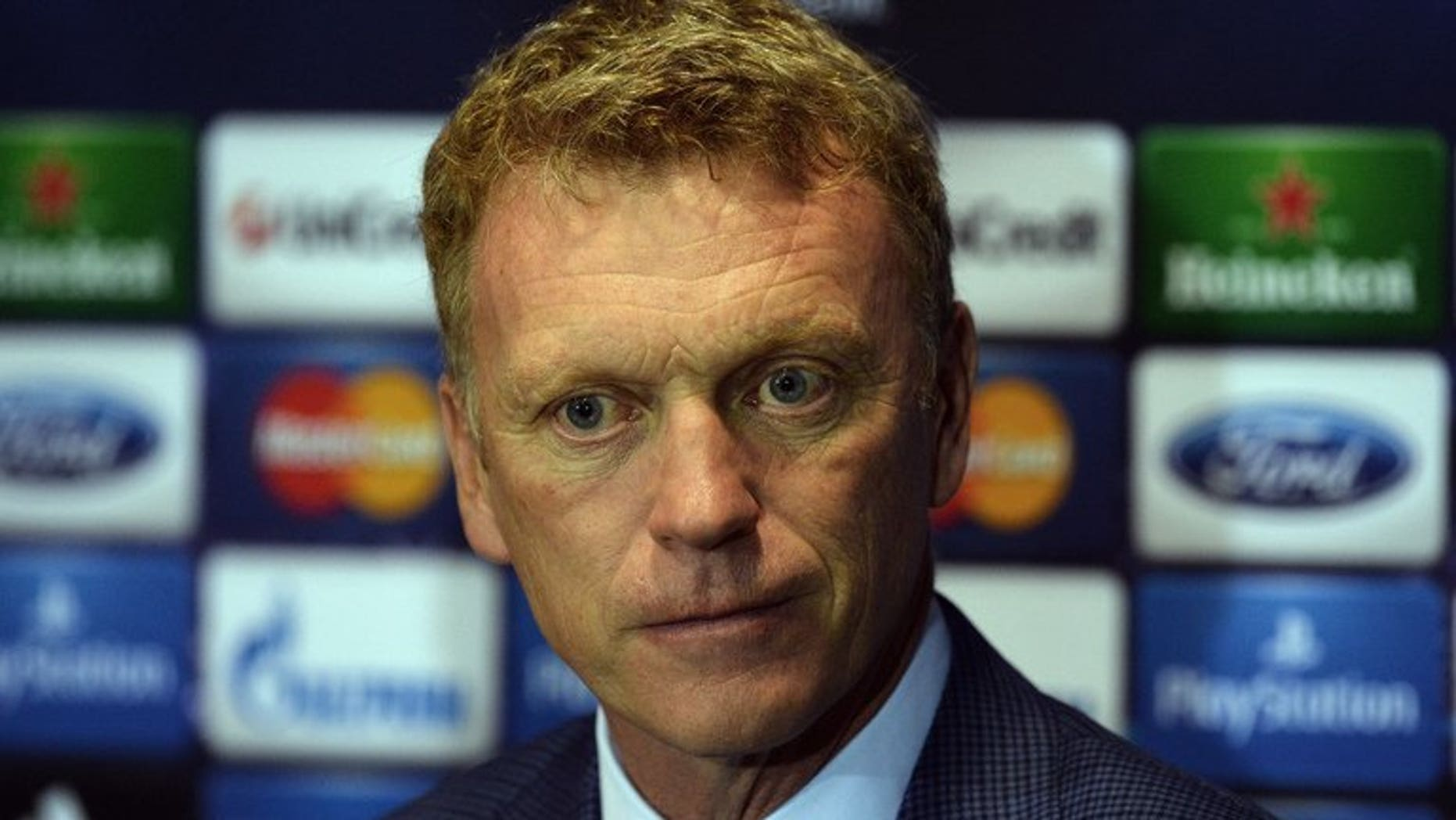 Manchester United's Scottish manager David Moyes holds a press conference at Old Trafford in Manchester, northwest England, on September 16, 2013, ahead of the UEFA Champions League Group A football match between Manchester United and Bayer Leverkusen on September 17.