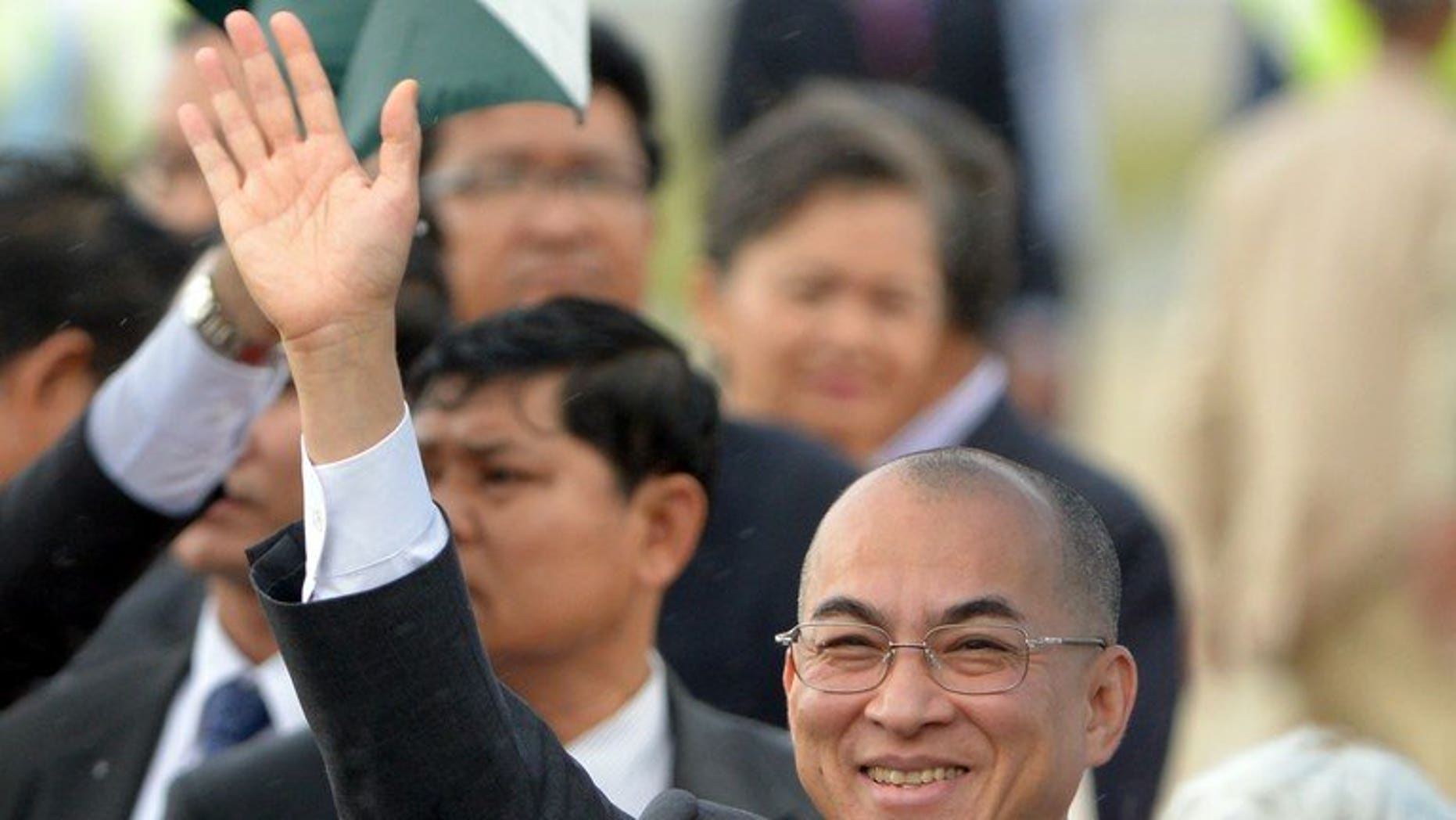 """Cambodia's King Norodom Sihamoni, pictured on September 11, 2013, appealed to opposition lawmakers Wednesday to drop a planned boycott of parliament for the sake of """"national unity"""" following strongman premier Hun Sen's disputed election win."""
