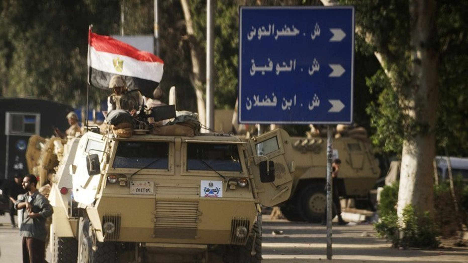 Egyptian troops and police stormed the village of Kerdassah near Cairo Thursday in the latest crackdown on militants. File picture shows Egyptian troops in Cairo on September 3, 2013.