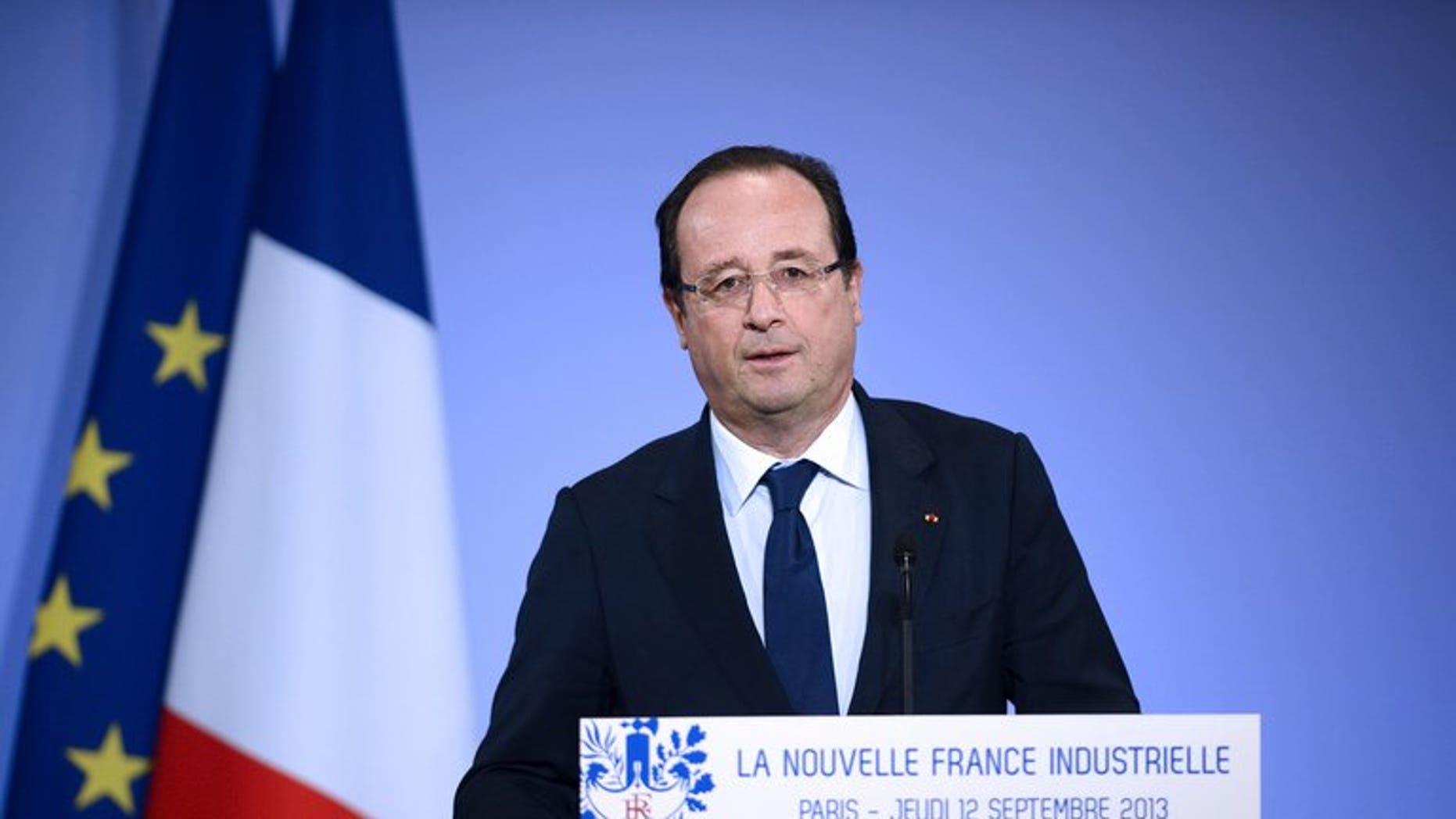 French President Francois Hollande speaks on September 12, 2013 in Paris.