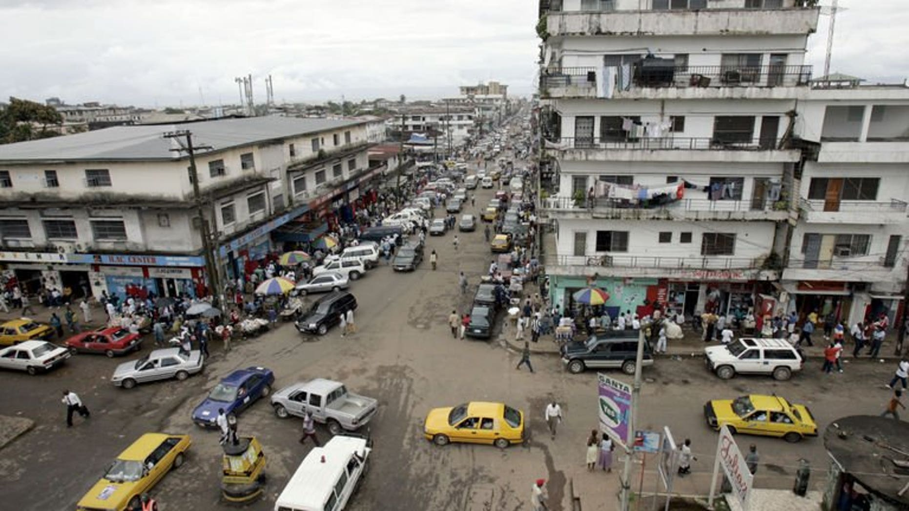 A view of the city centre of Monrovia on October 3, 2005. Two Liberian journalists appeared in court in Monrovia on Friday charged with criminal libel after accusing the government of corruption on national radio.