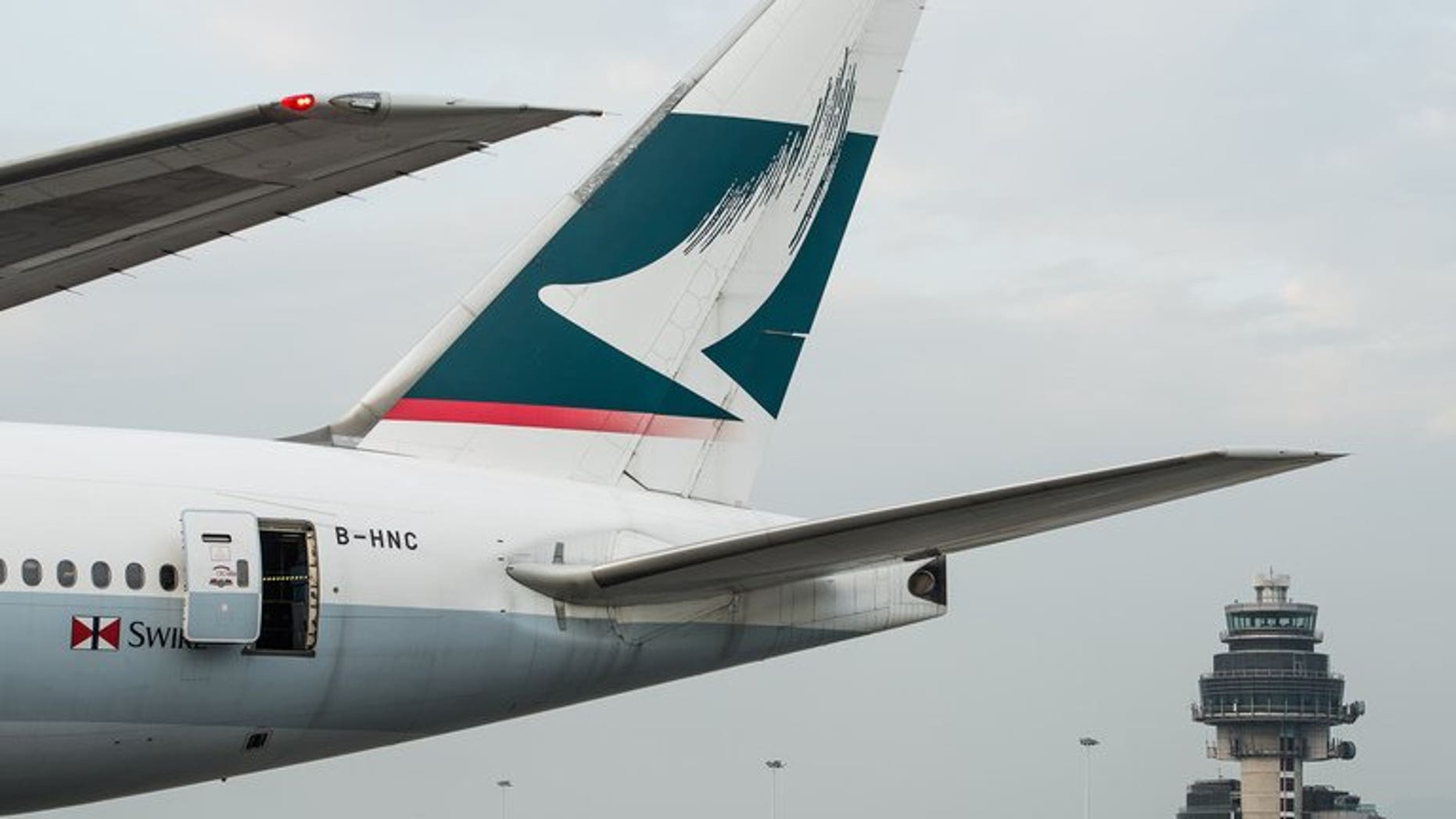 A Cathay Pacific plane on the tarmac of the international airport in Hong Kong, on December 7, 2012.