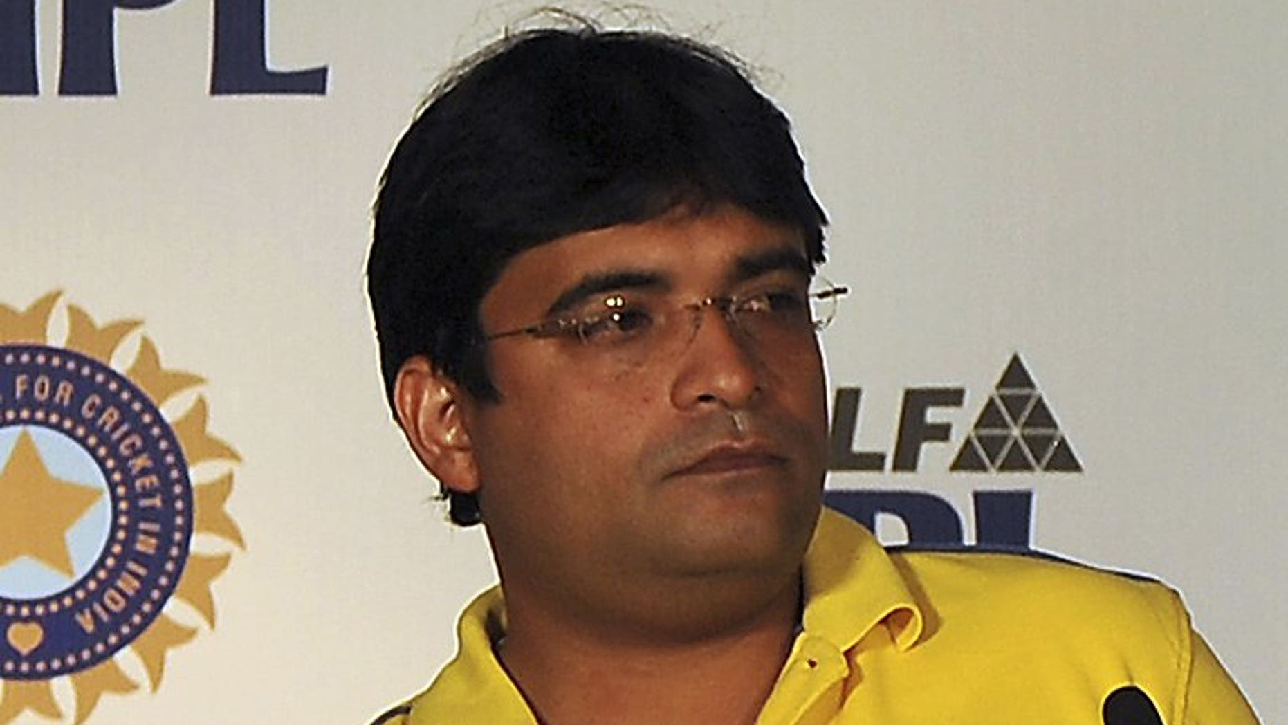 Former 'Chennai Super Kings' owner Gurunath Meiyappan attends a press conference iin Bangalore, on February 4, 2012. Mumbai police have filed charges against Meiyappan -- the son-in-law of India's cricket chief -- for gambling, cheating and conspiracy, in a scandal that has engulfed the country's Twenty20 league.