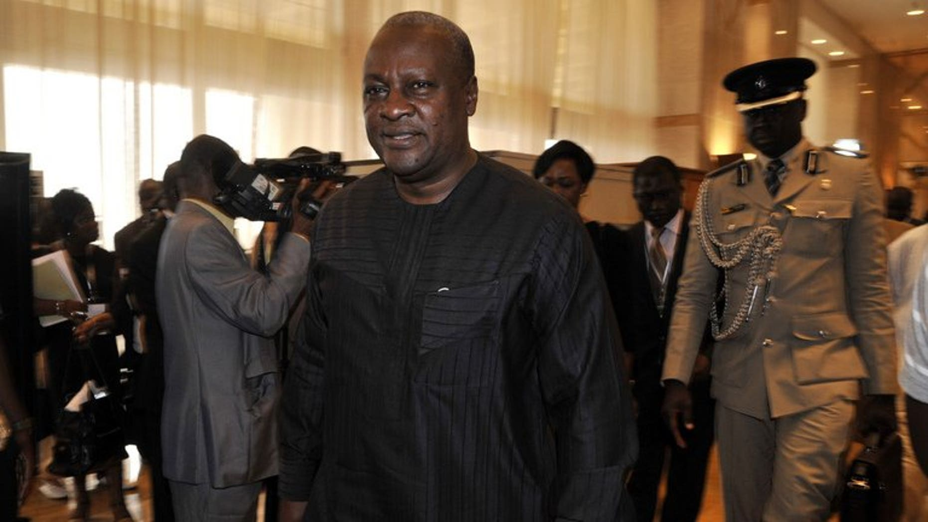 Ghana president John Dramani Mahamam in Yamoussoukro, Ivory Coast, Febuary 28, 2013. Ghanaian poet and statesman Kofi Awoonor was among the 59 people confirmed dead so far in an attack by Somali Islamist militants on a Nairobi shopping mall, Ghana's president confirmed on Sunday.