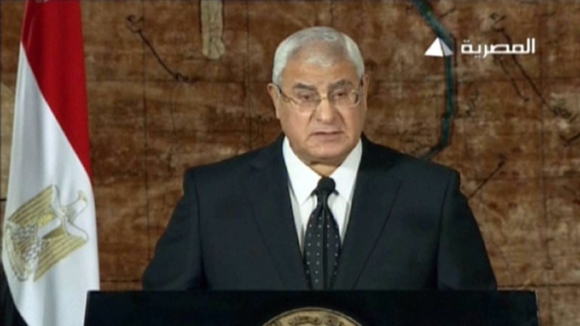 An image grab taken from Egyptian state TV shows interim president Adly Mansour delivering a televised address to the nation from Cairo, on July 18, 2013. A new Egyptian constitution replacing the one suspended on president Mohamed Morsi's ouster will be put to a referendum by November's end, according to a spokesman for the panel drafting the charter.