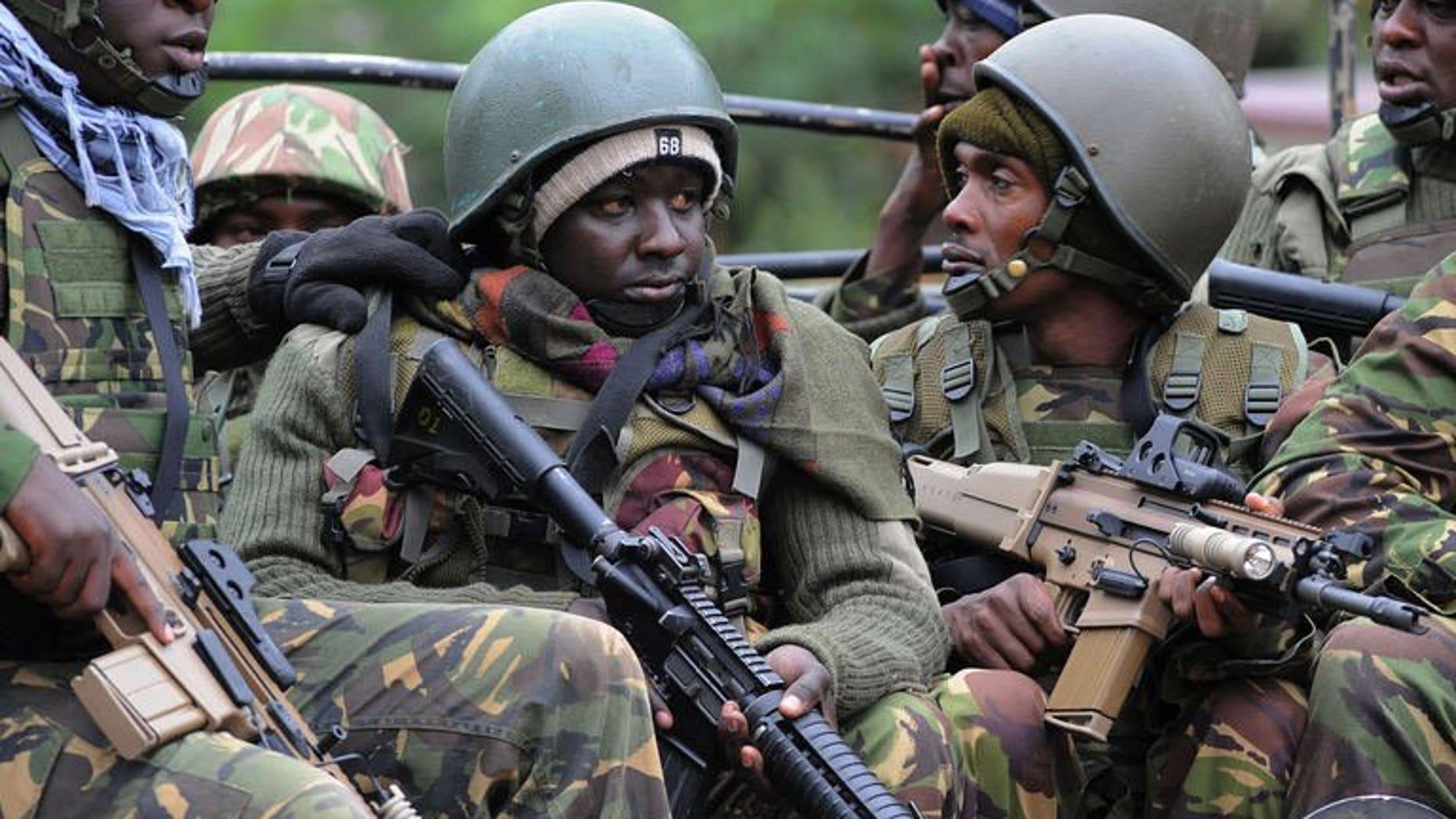 Kenya Defense Forces (KDF) arrive on September 22, 2013 at the Westgate mall in Nairobi.