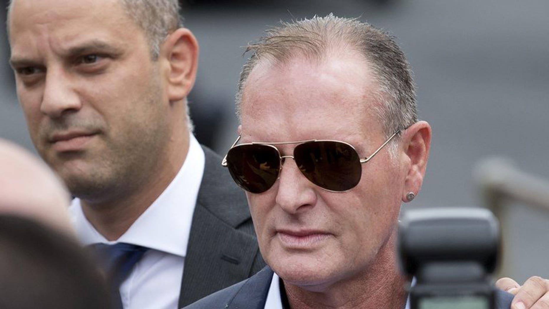 Former England footballer Paul Gascoigne arrives at Stevenage Magistrates Court, north of London, on August 5, 2013.