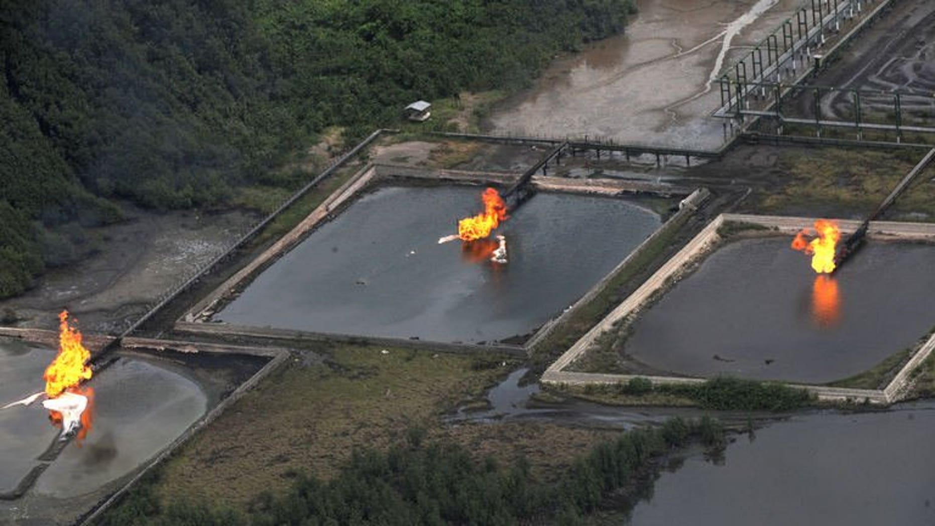 Gas flares at the Shell Cawtharine Channel in the Niger Delta on March 22, 2013.
